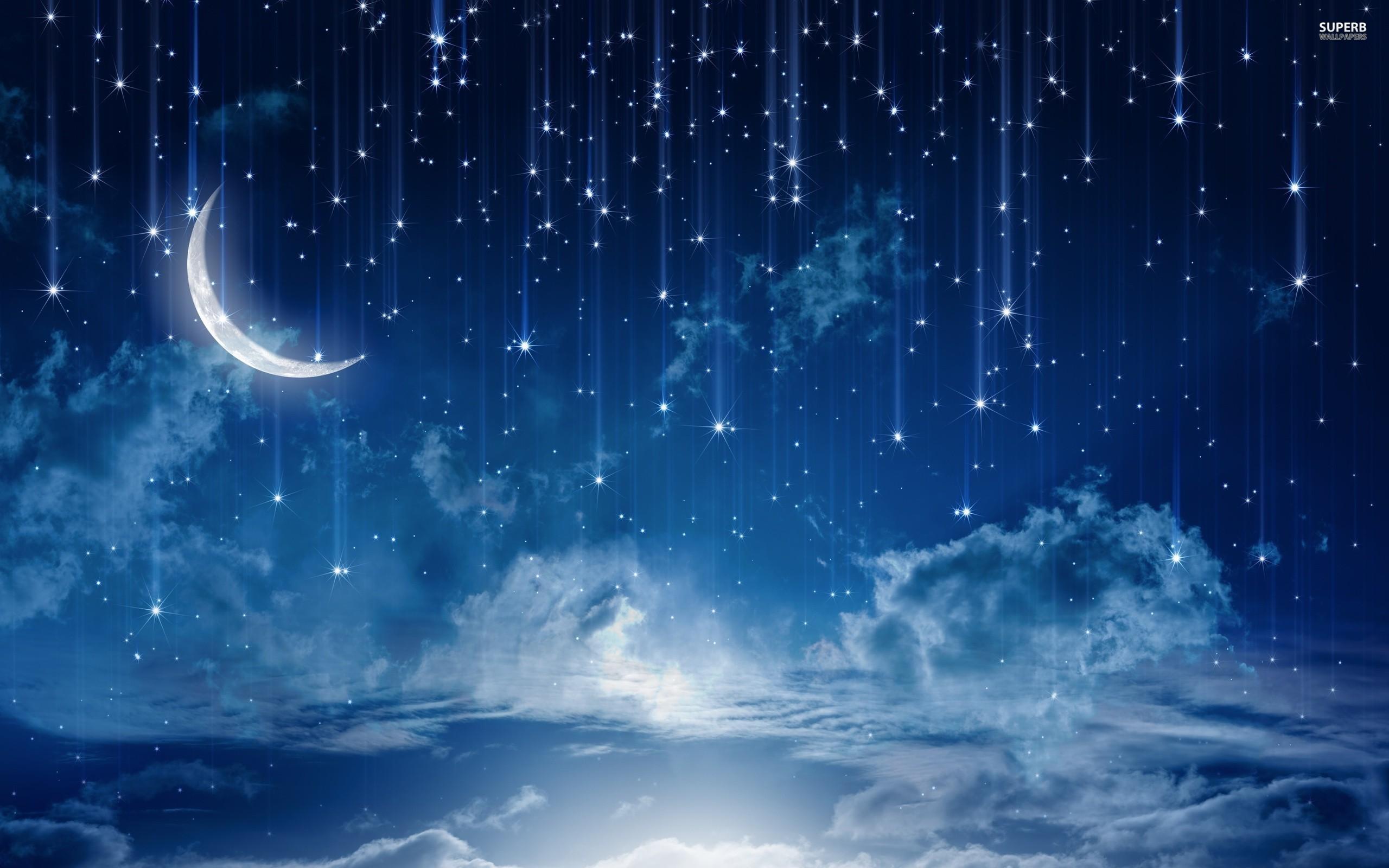 Night Sky Stars Moon Wallpaper