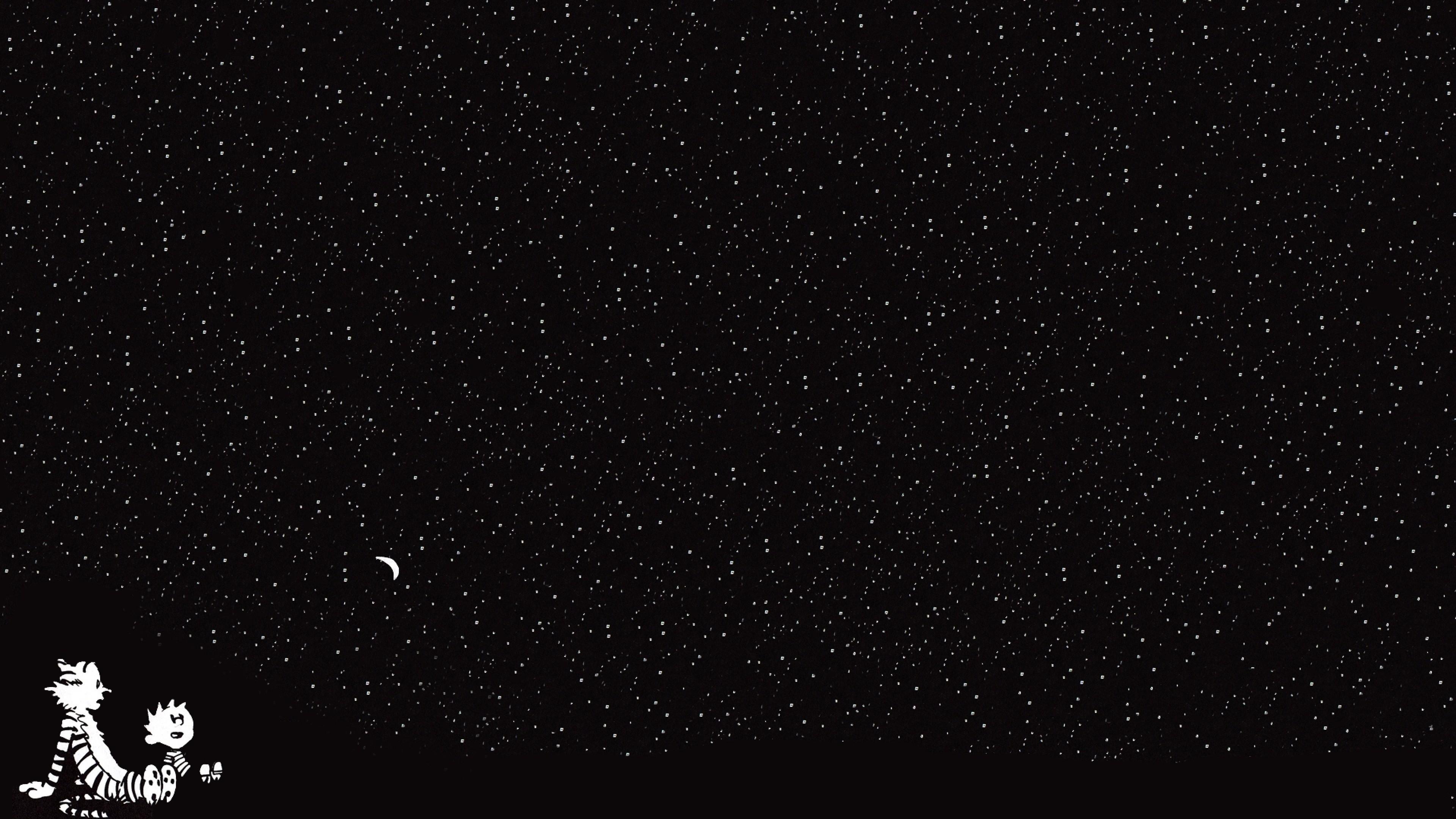 Wallpaper calvin and hobbes, starry sky, cartoon