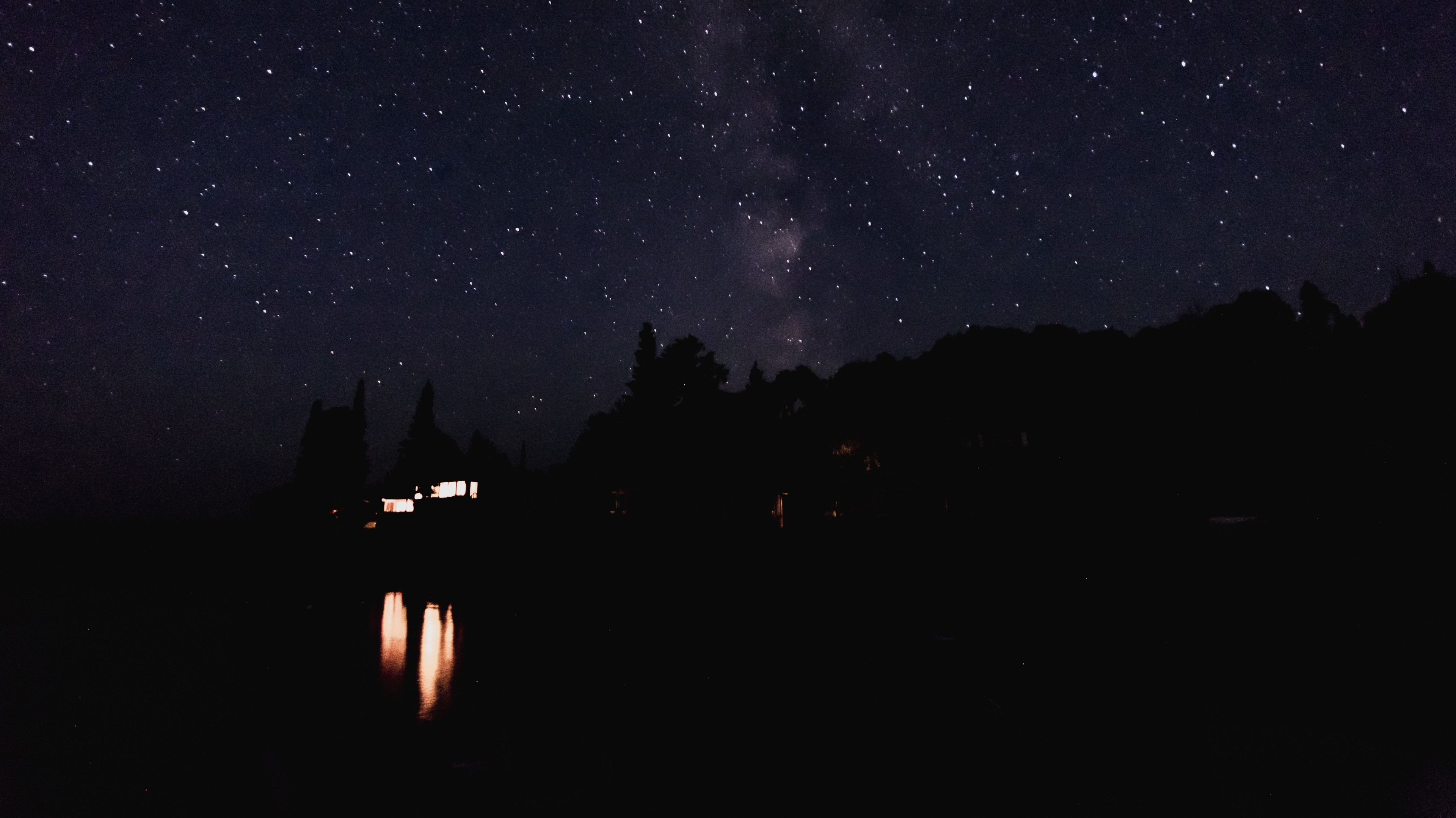 Wallpaper starry sky, night, lights, sky