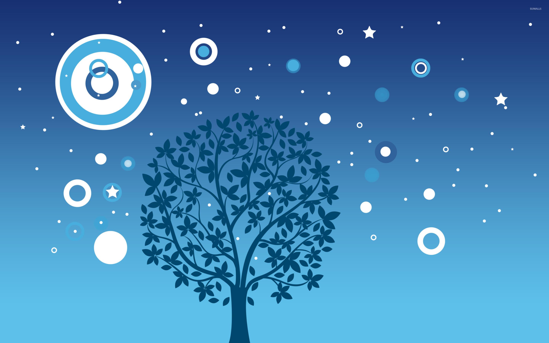 Tree under starry sky wallpaper