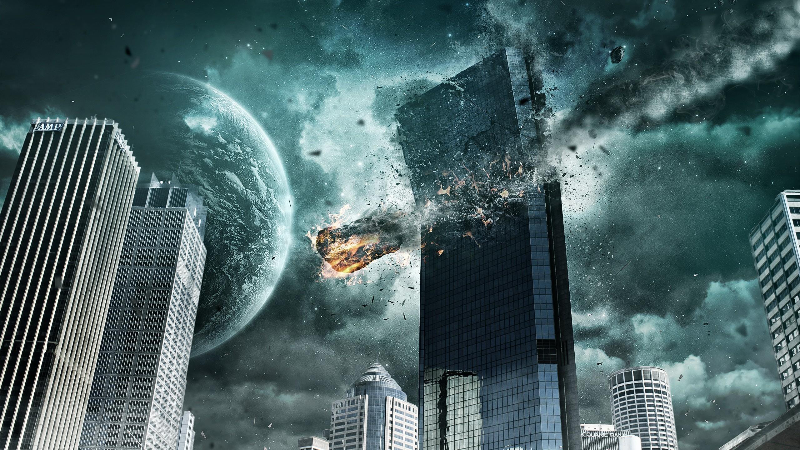 wallpaper.wiki-Meteorite-Crash-Digital-Art-2560-x-