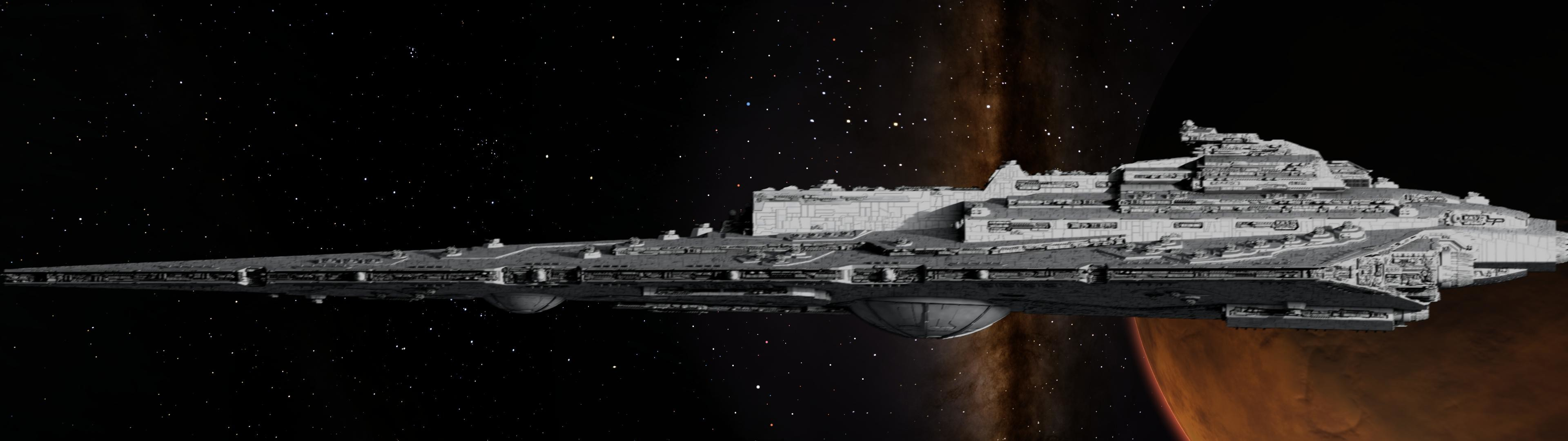 Combined a space scene and stark star destroyer model – (dual  mon) …