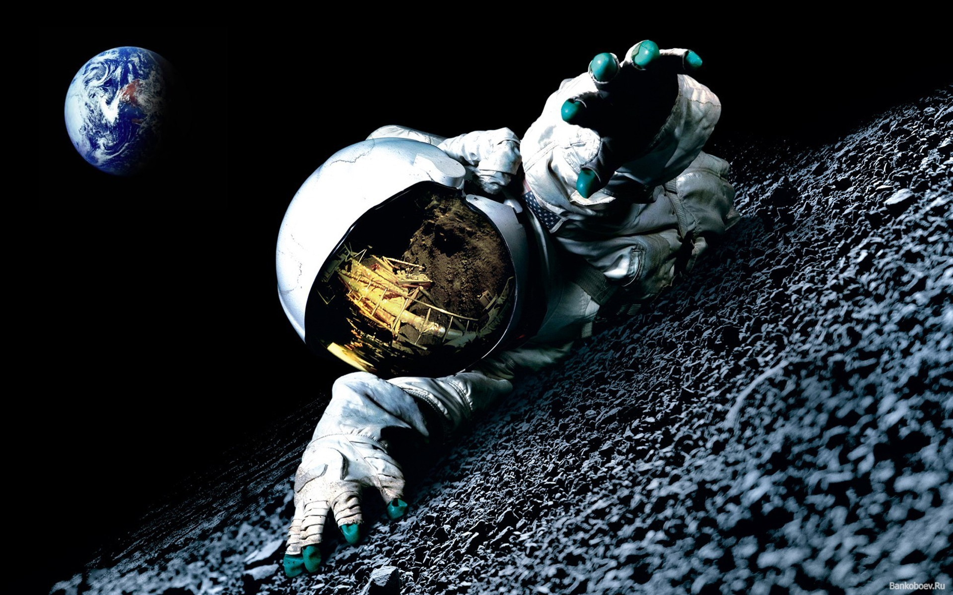 Astronaut In The Moon Space HD Wallpaper