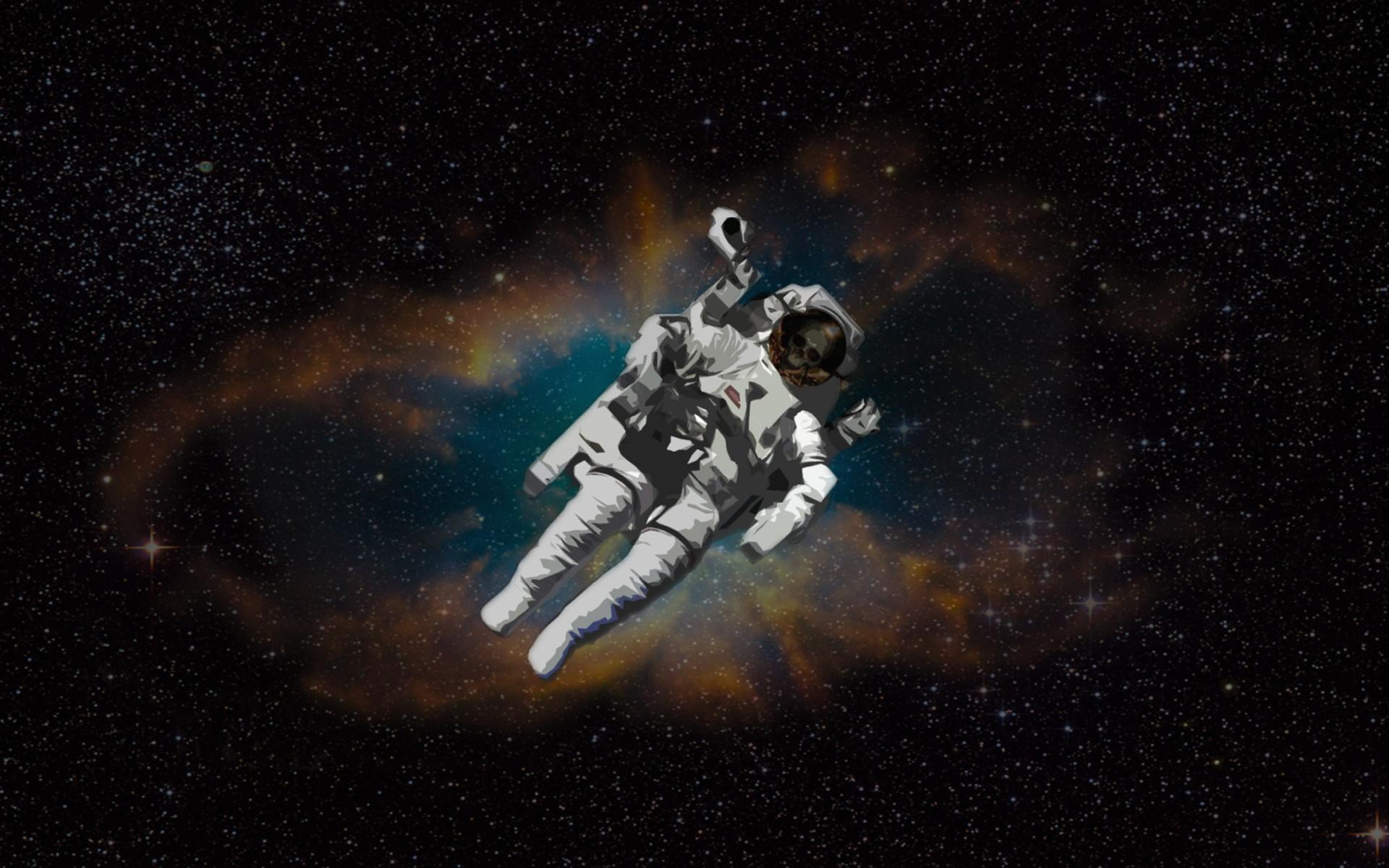 Kostenloses Skull Of Astronaut In Space Wallpaper für Widescreen .