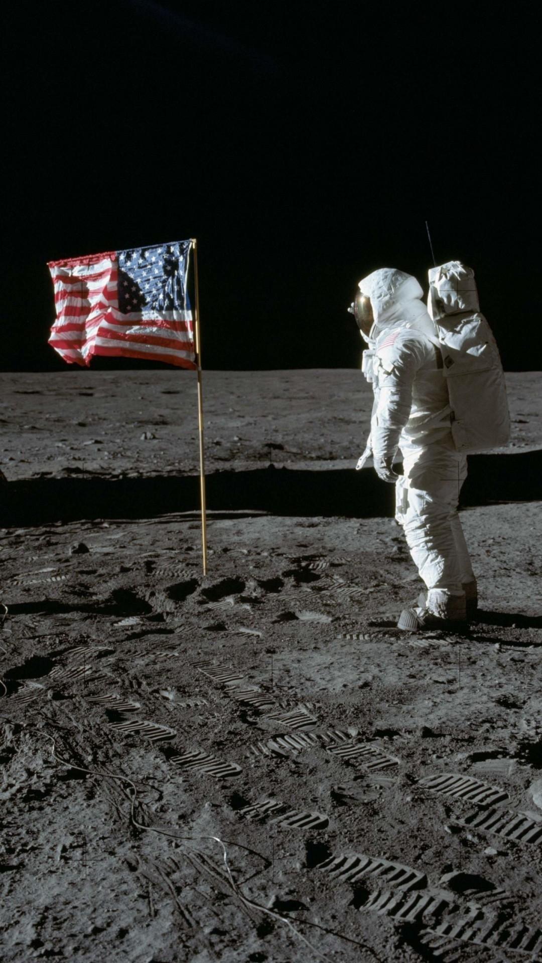 Buzz Aldrin in the moon