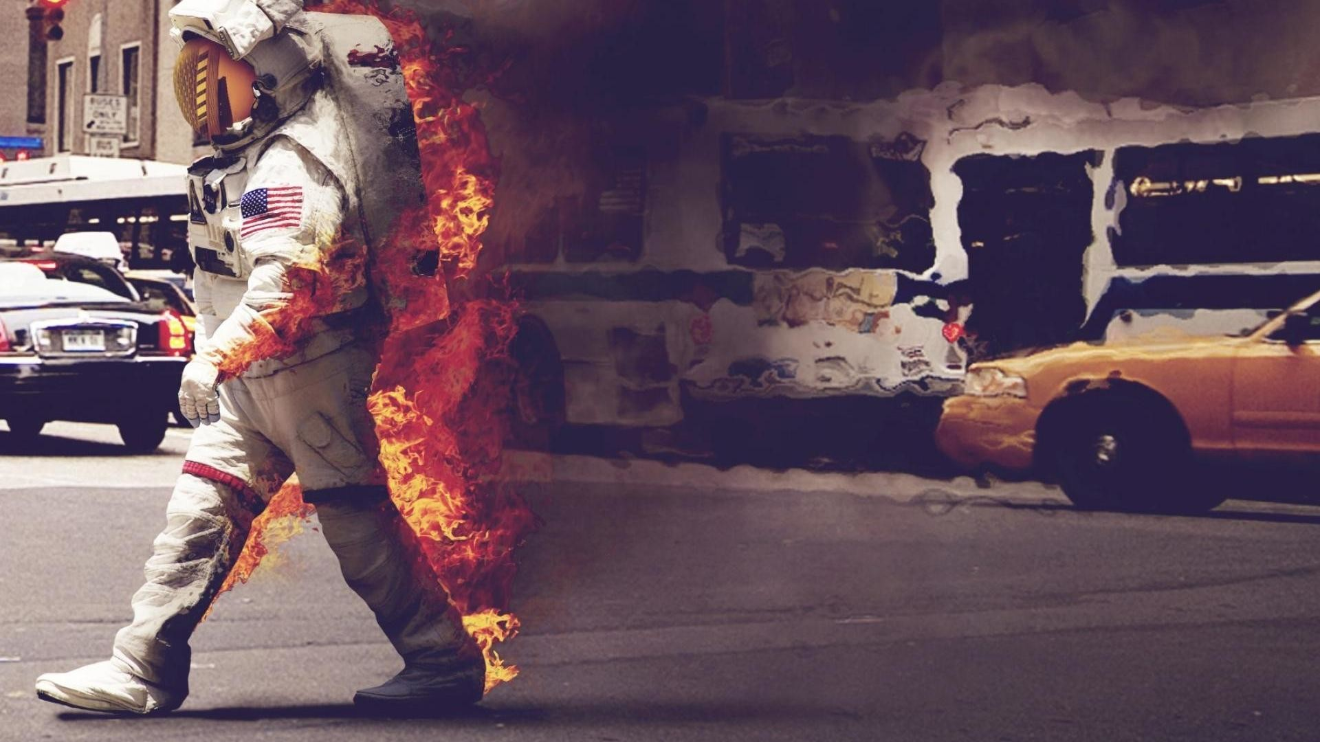 Astronaut On Fire Crossing The Road HD Rare Wallpaper Free HD .