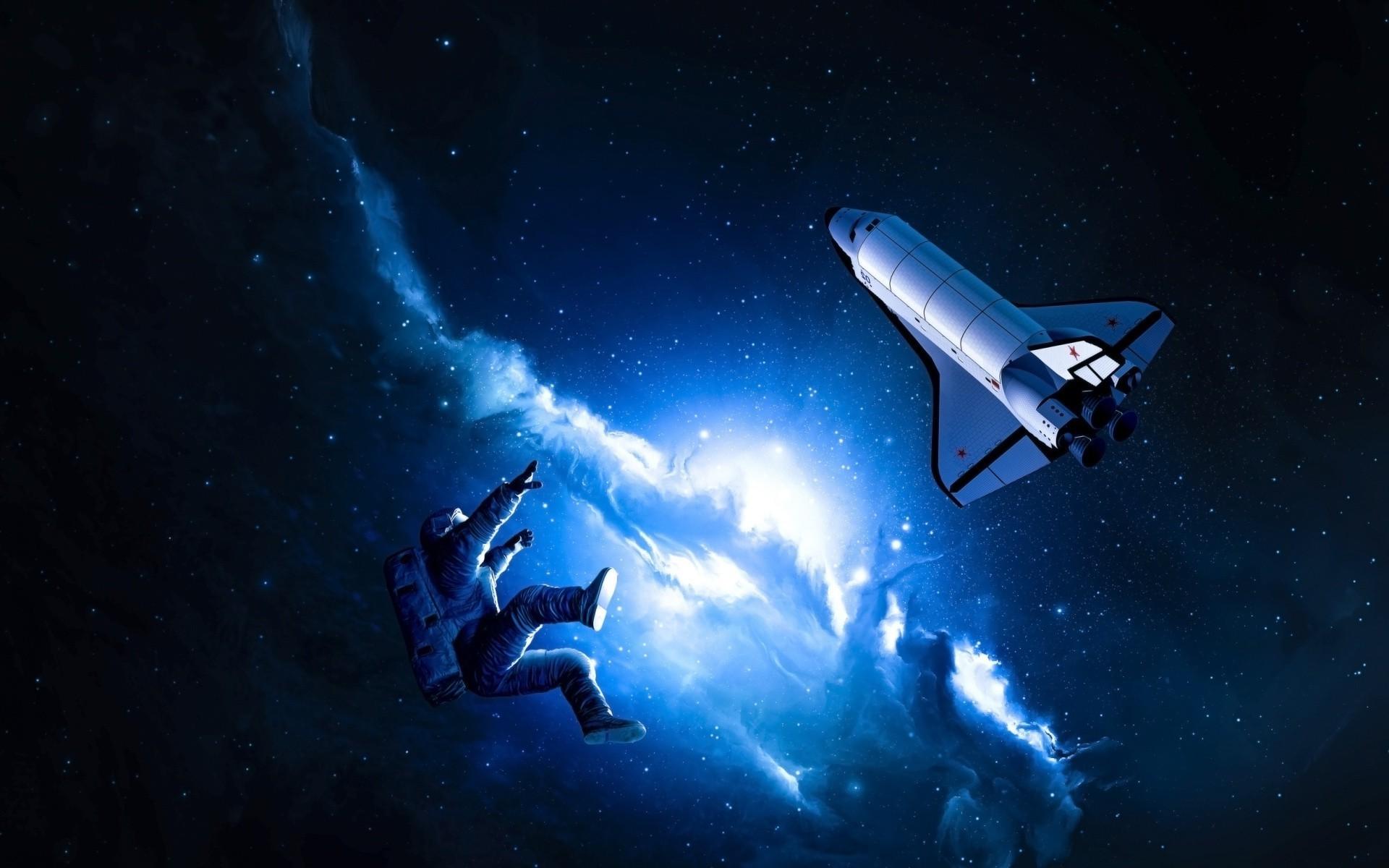 space, Space Shuttle, Space Art, Nebula, Blue, Stars, Astronaut Wallpaper