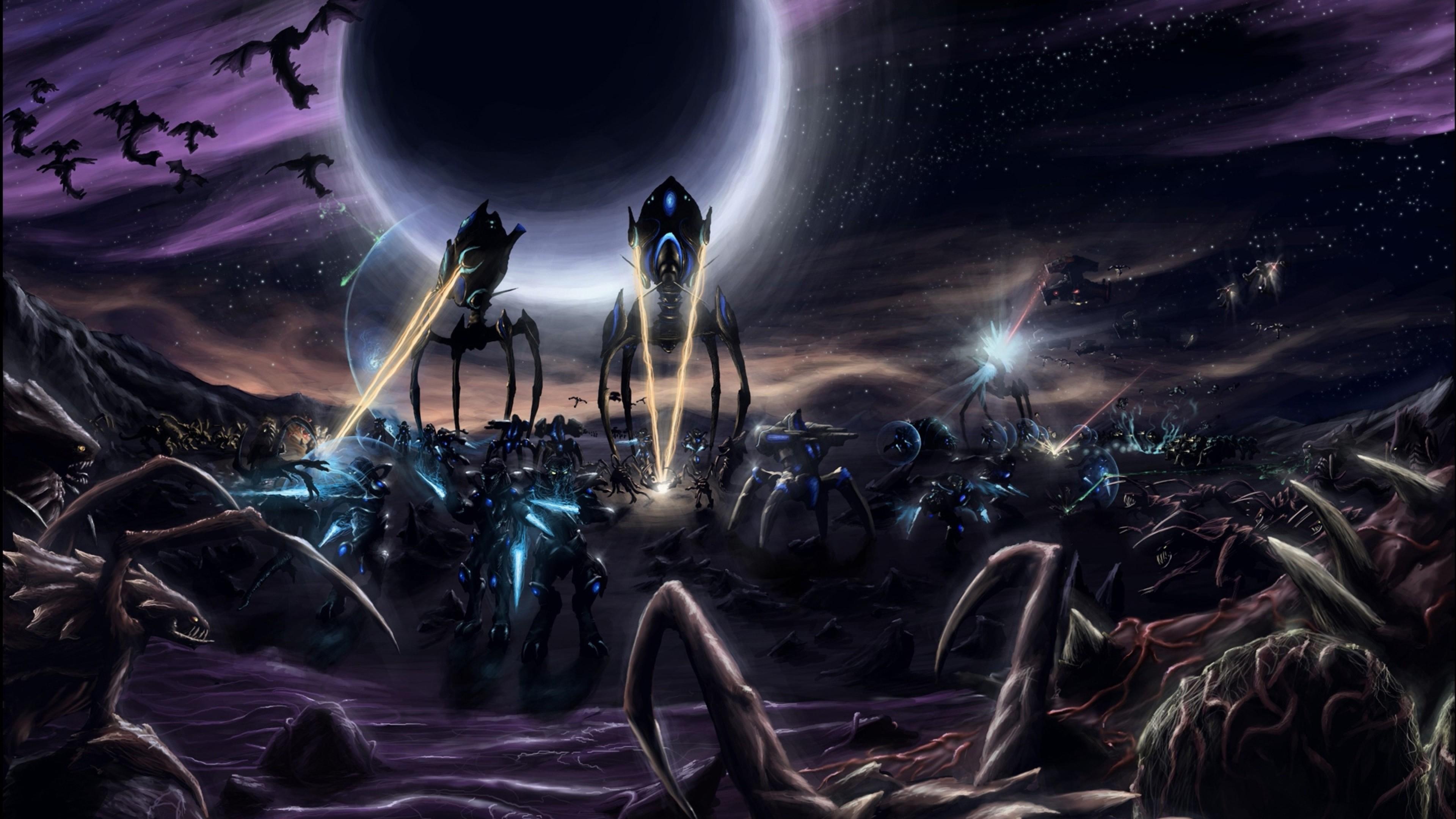 … Background 4K Ultra HD. Wallpaper starcraft, robots, planet,  space