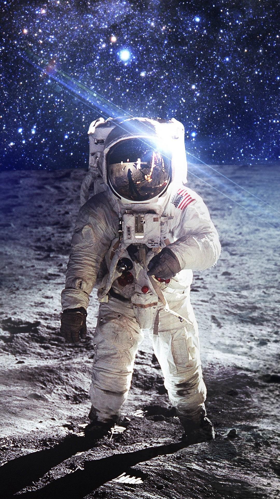Astronaut Space Art Moon Dark #iPhone #6 #plus #wallpaper