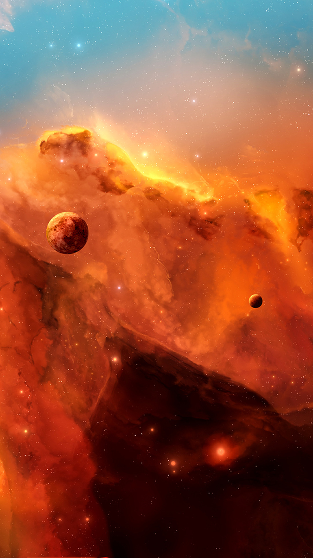 Space Clouds Planets Illustration #iPhone #6 #plus #wallpaper