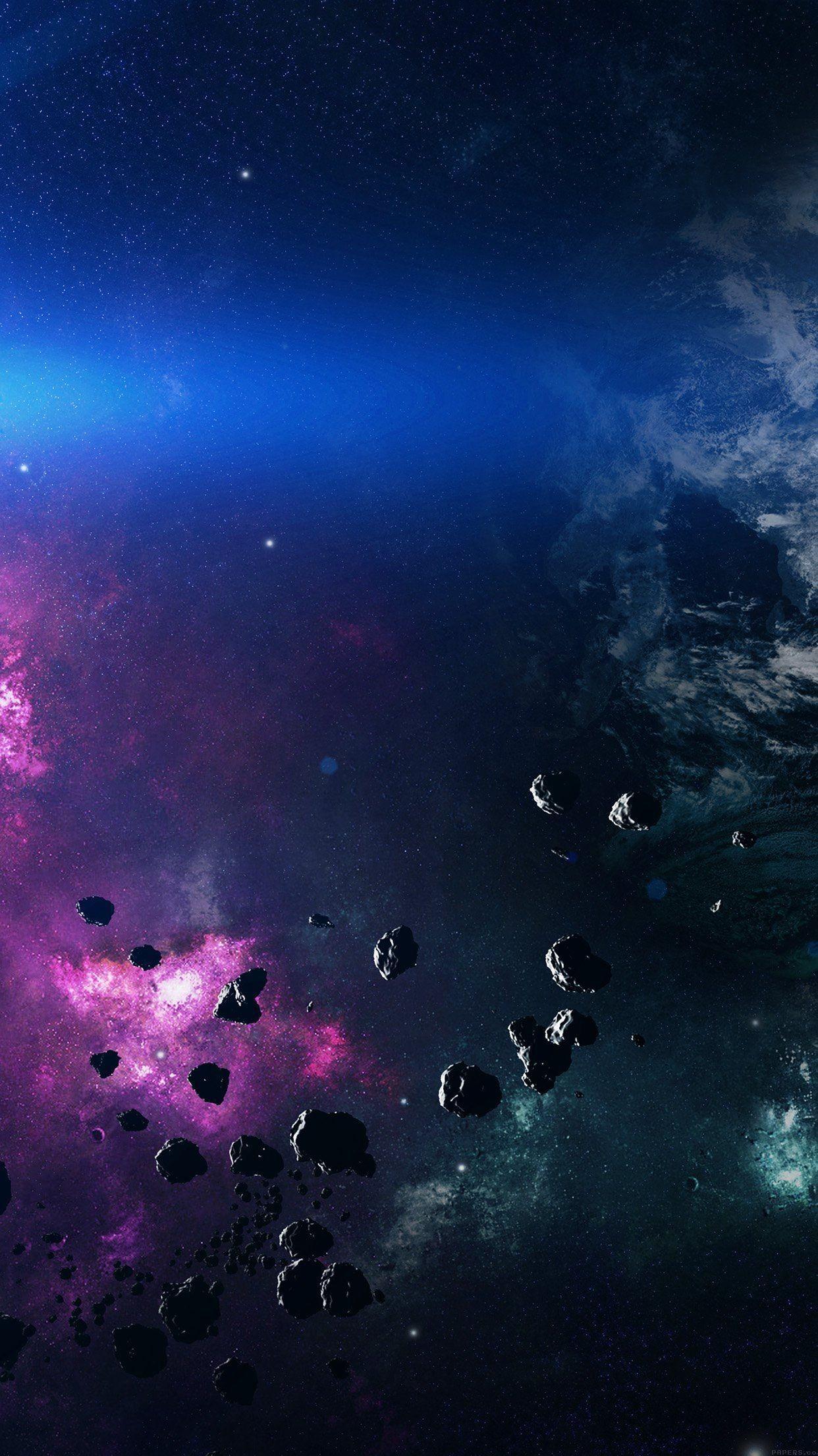 Space Asteroids Belt Purple iPhone 6 Plus HD Wallpaper