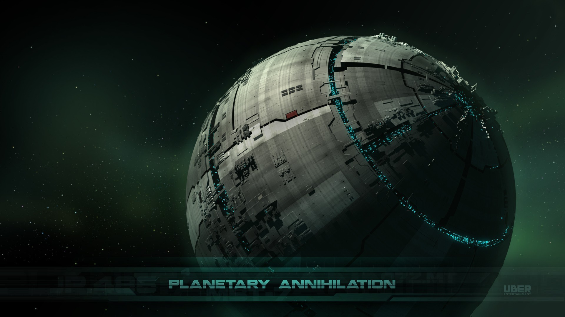 wallpaper construction of planet spaceship in deep space.