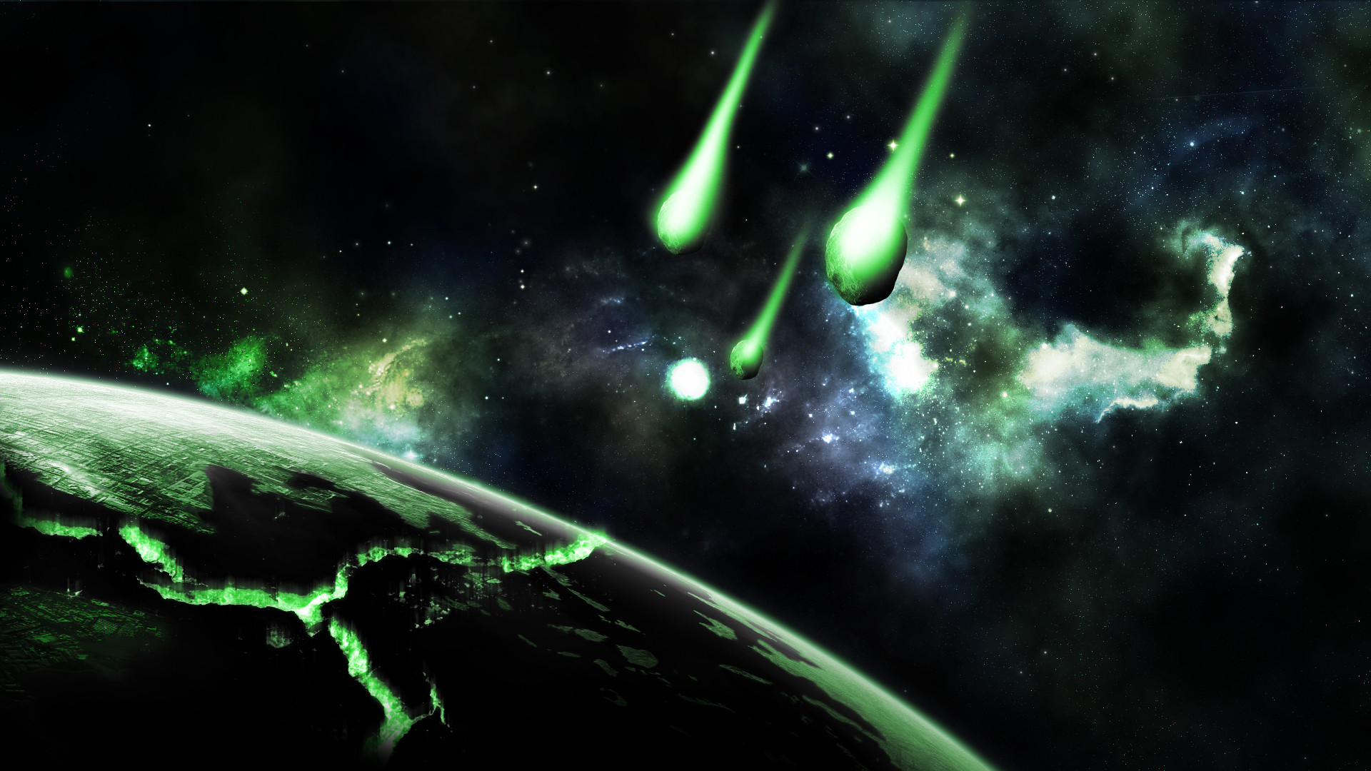 … Green and Deep Space (Wallpaper) by Hardii