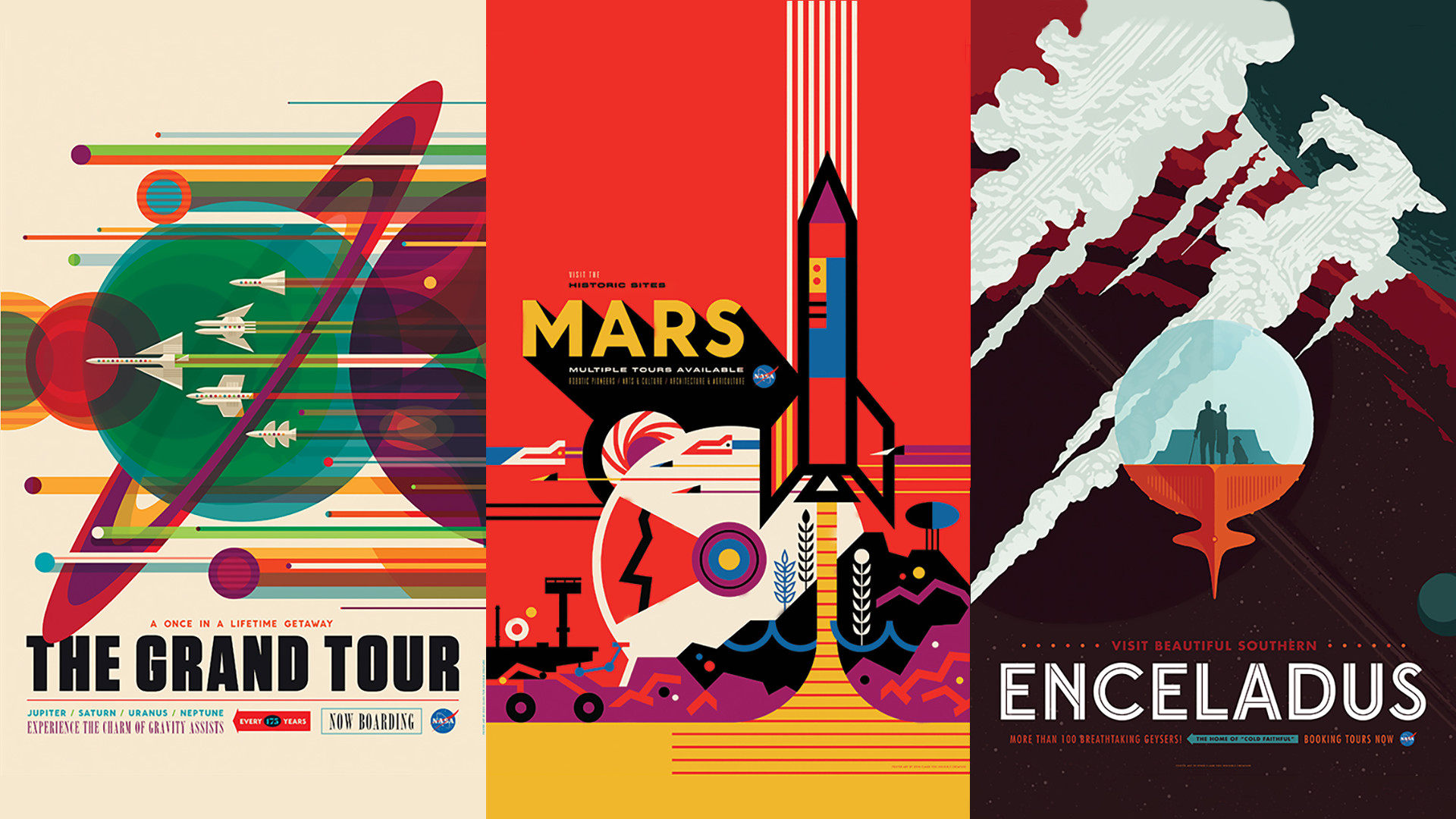 I updated the previous wallpaper and created a few new ones based on the  high res posters that NASA released yesterday
