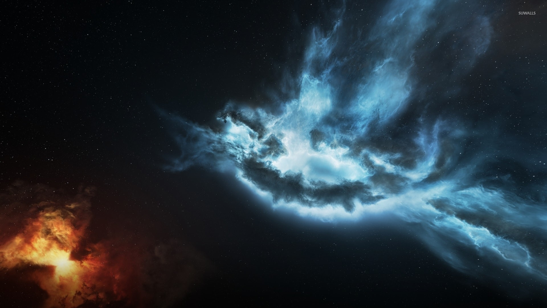 Red and blue nebula [ wallpaper Space wallpapers