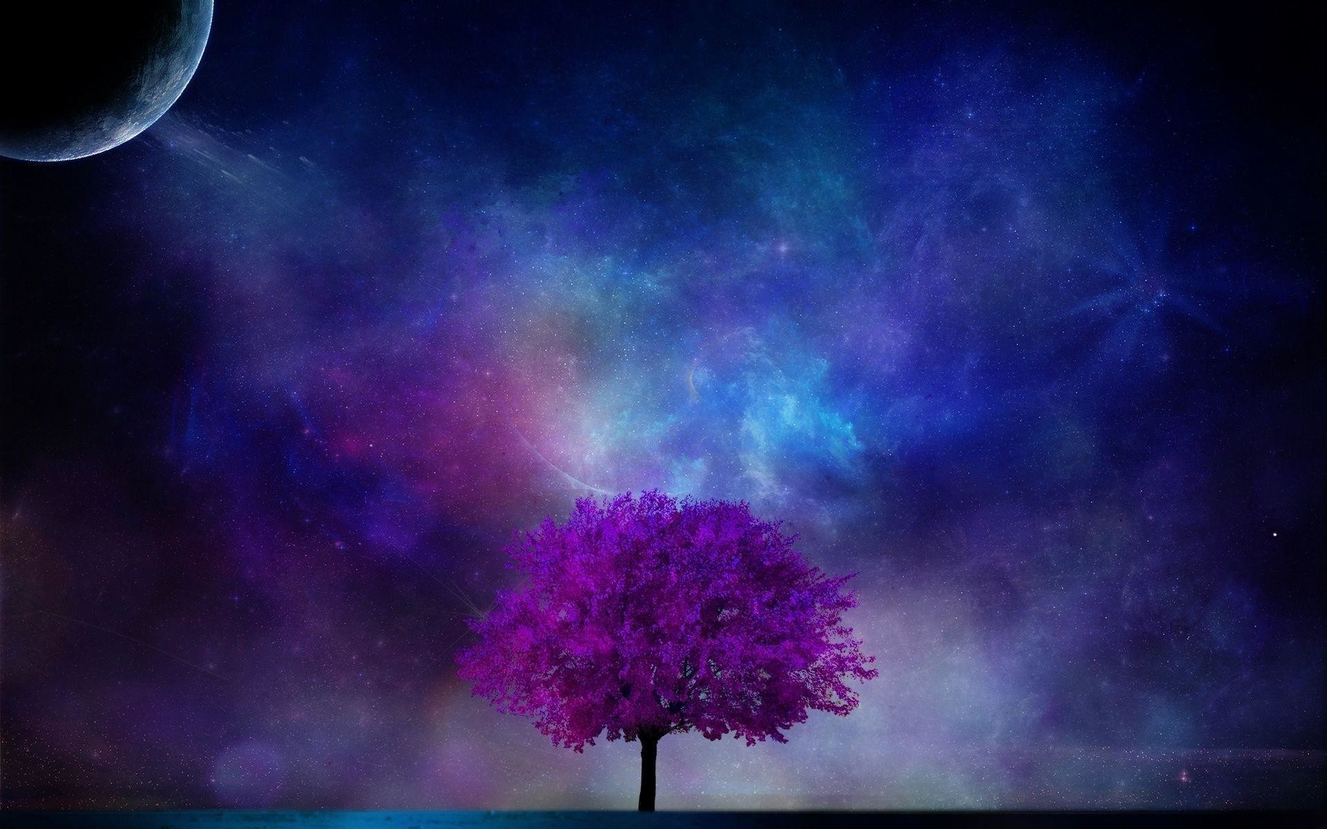 Art Nebula Sky Sci Fi Planet Moon Stars Blossom Wallpaper Background
