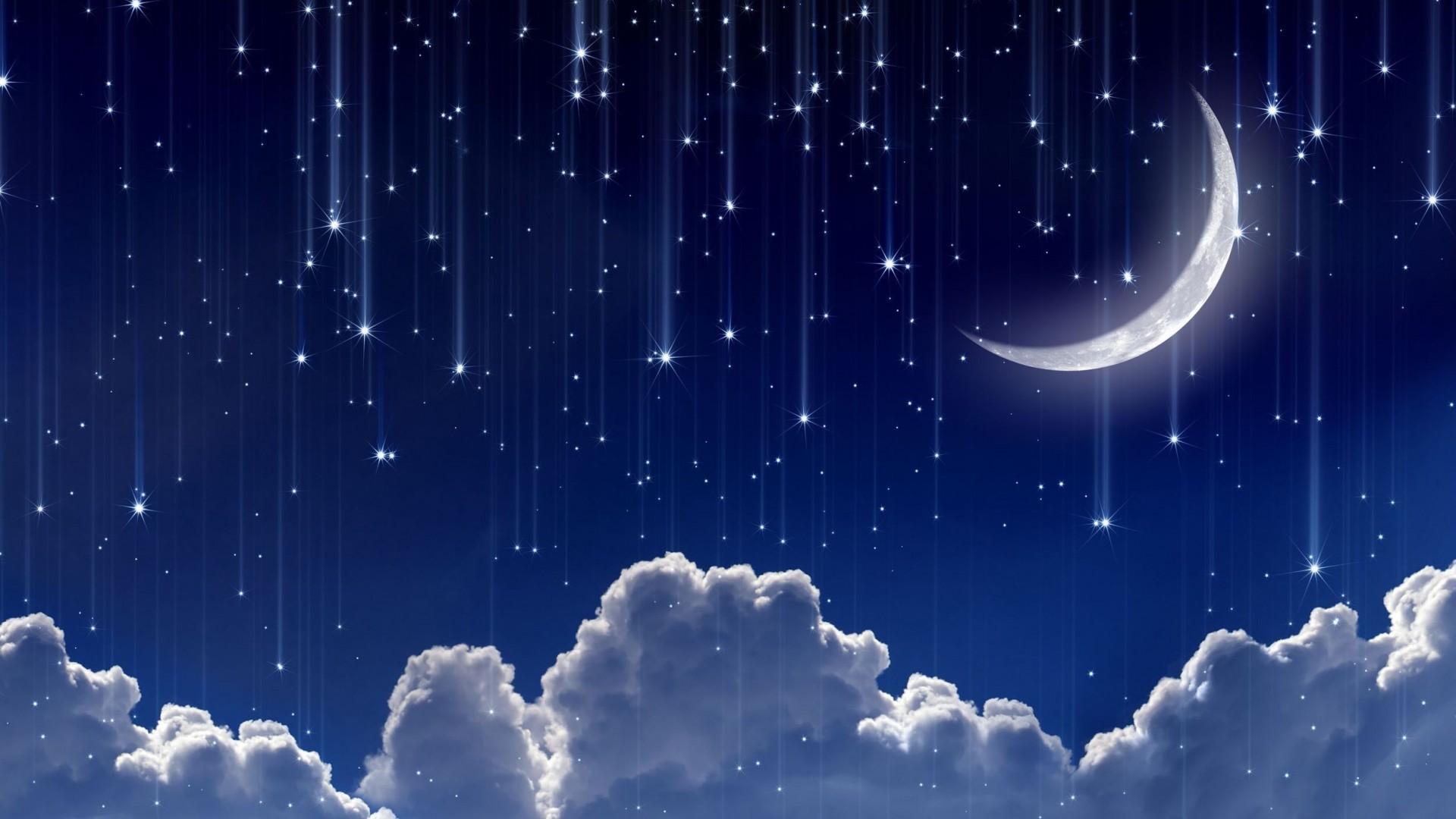 … download wallpaper moon stars night starfall crescent …