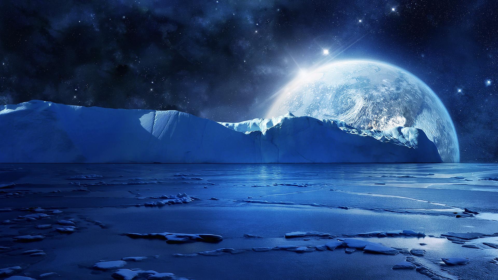 artic winter ocean sea moon sky planets stars space wallpaper