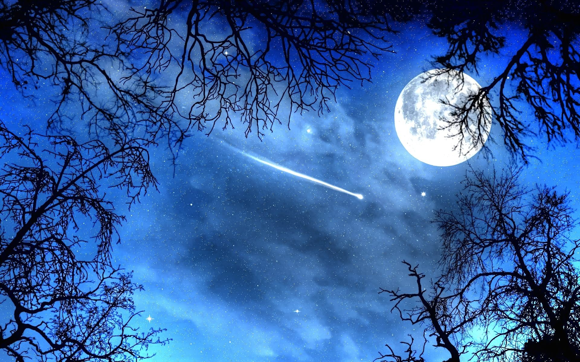 Moon and Stars Night Wallpaper