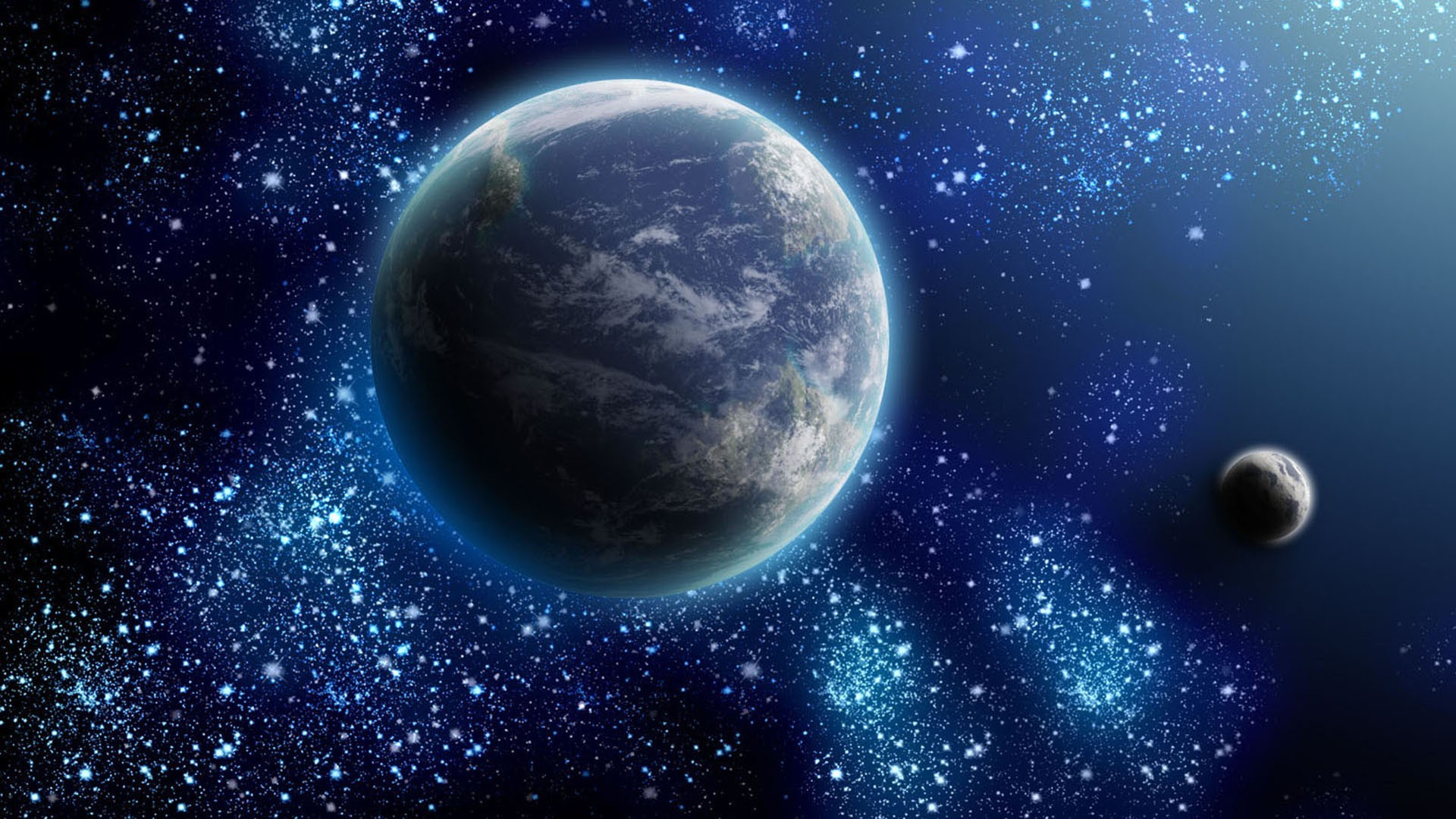 Earth and moon surrounded by stars wallpaper #3515