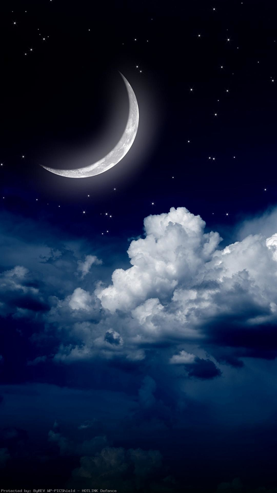 Sky-clouds-moon-iPhone-of-night-stars-view-