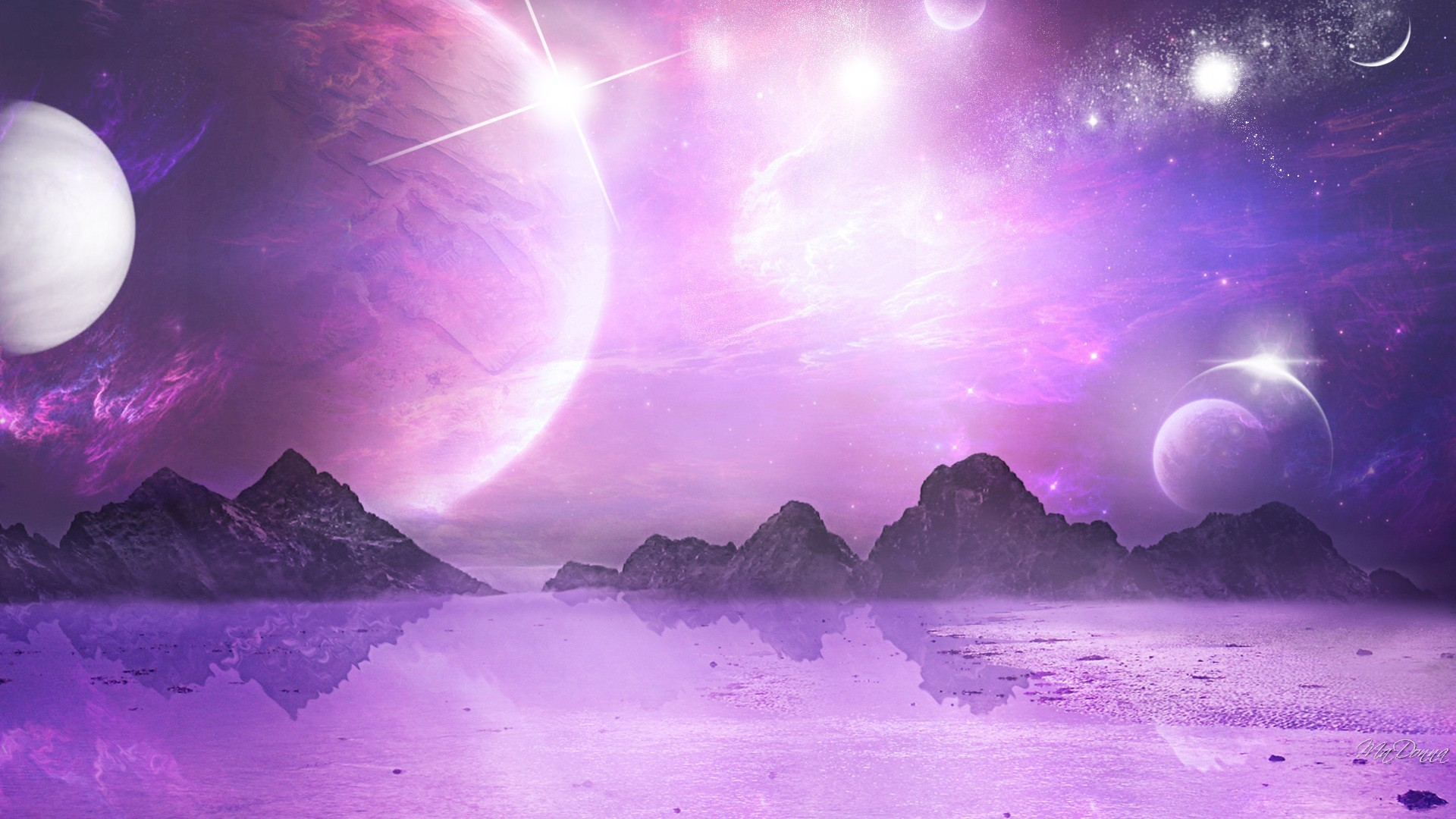 Planets Stars Mountains Sky Lavender Moon Purple Space HD Desktop Detail