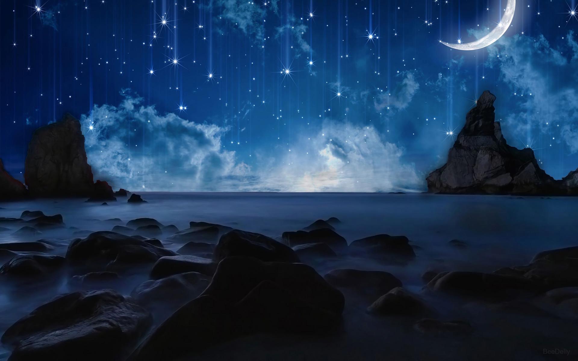 Artistic – Ocean Artistic Space Rock Star Moon Sky Wallpaper