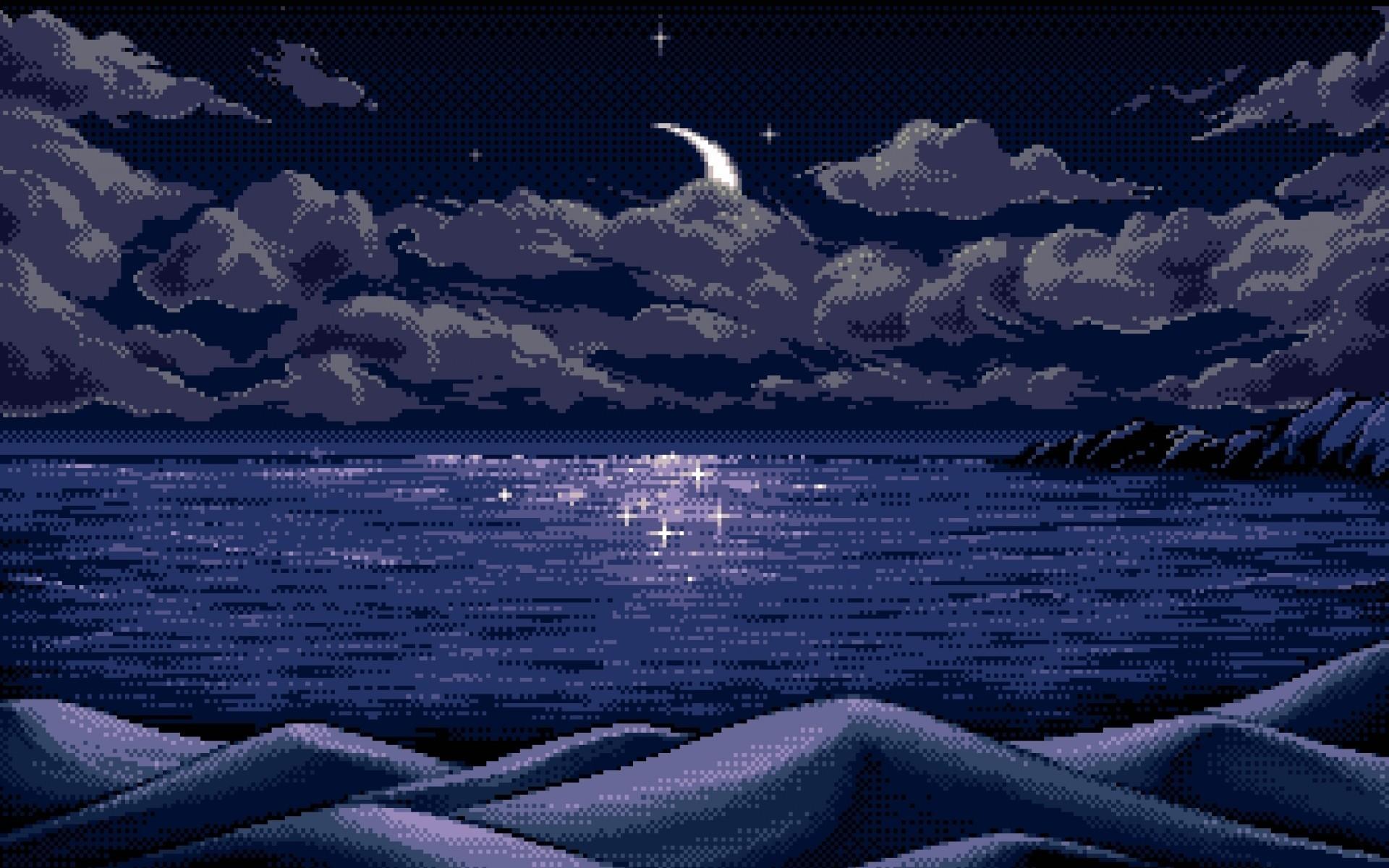 digital Art, Pixel Art, Pixels, Moon, Horizon, Blue, Reflection, Nature,  Sea, Clouds, Hills, Mountains, Night, Stars, Landscape Wallpapers HD /  Desktop and …