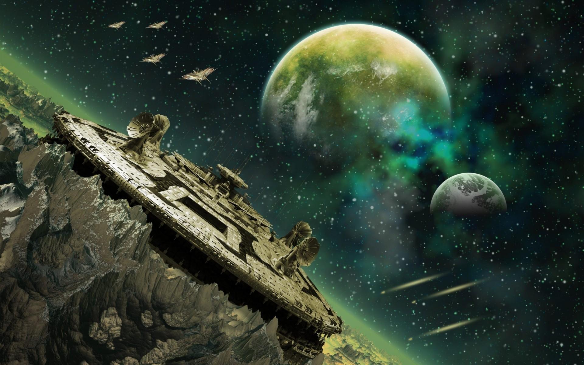 Alien Planet Space Station Wallpaper