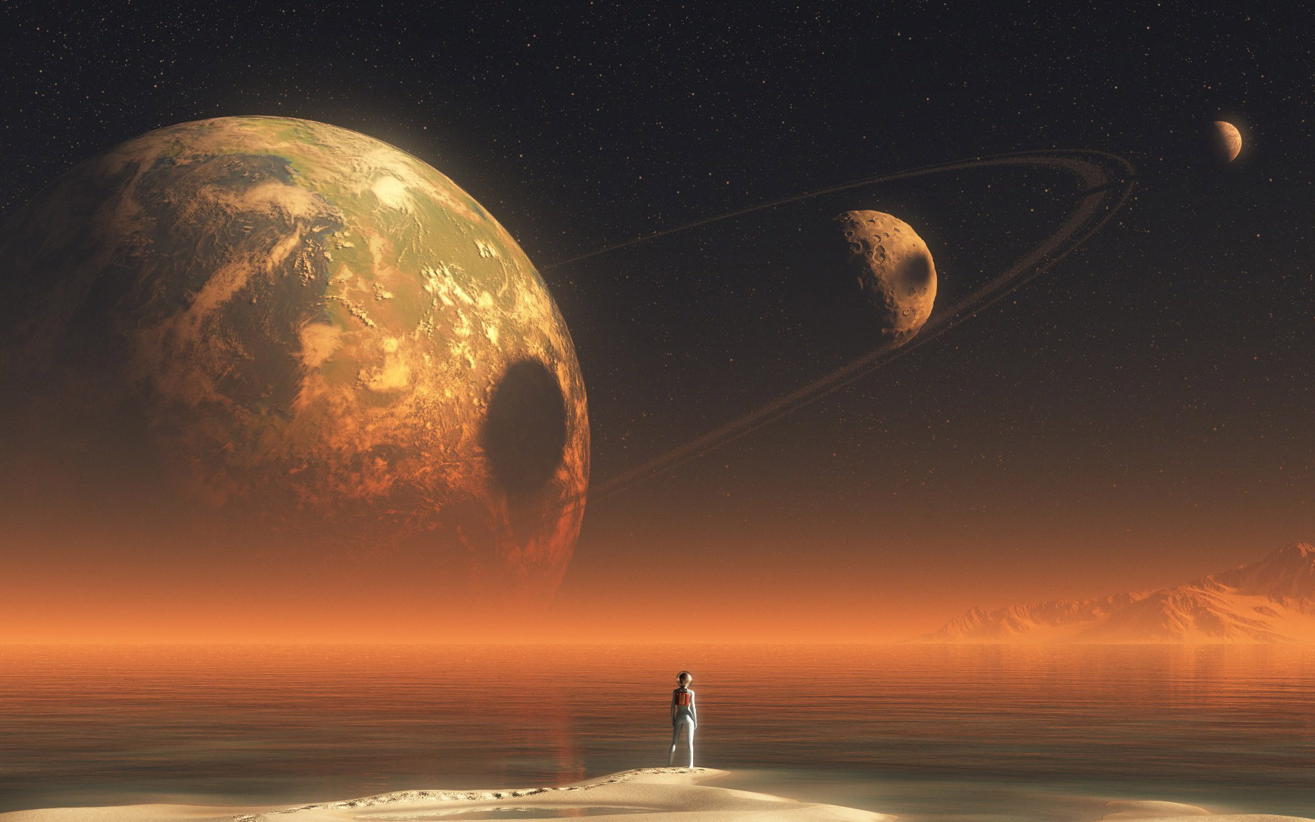 … Alien looking at the planet