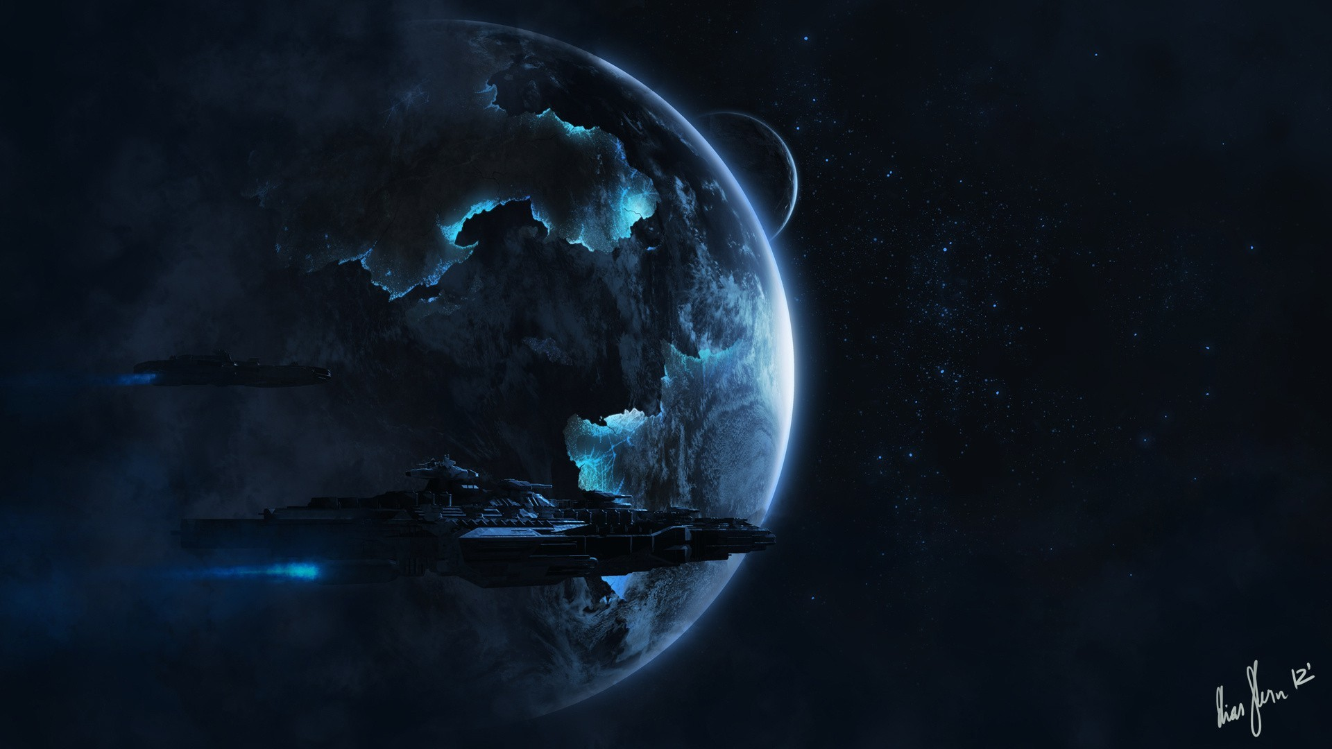 Outer Space Alien Spaceship Wallpaper