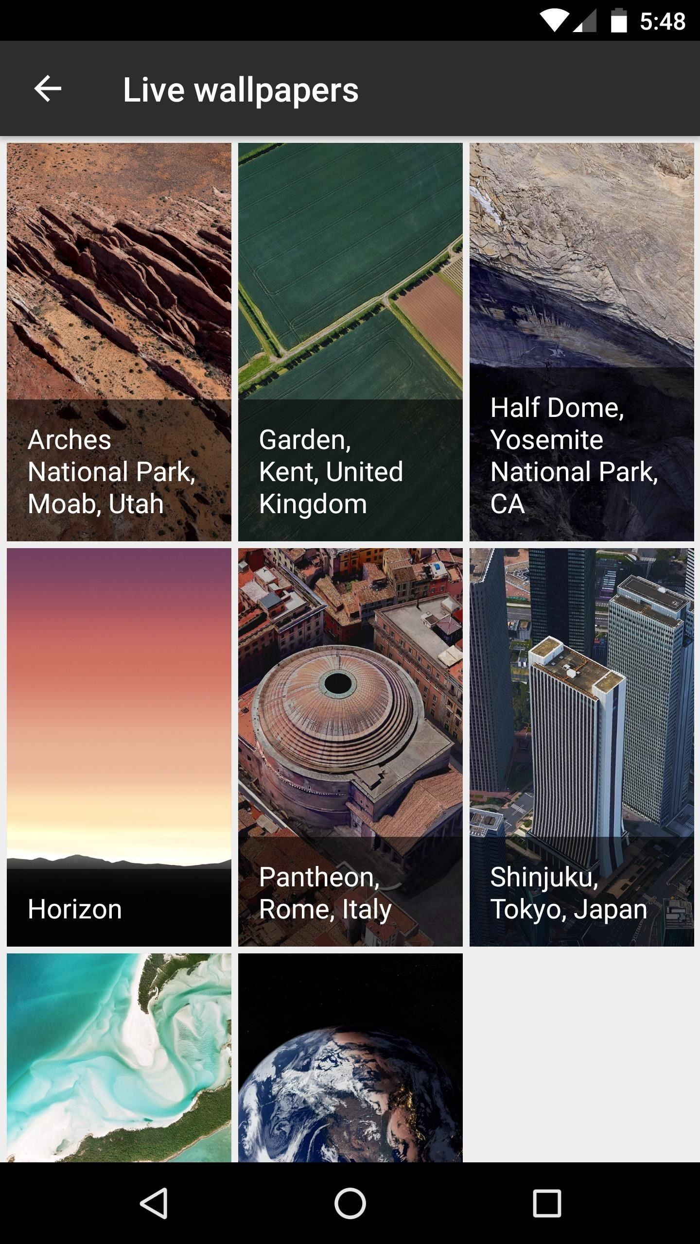 (1) Setting Live Earth wallpapers through the Pixel Launcher. (2) Setting  Live Earth wallpapers with a custom launcher.