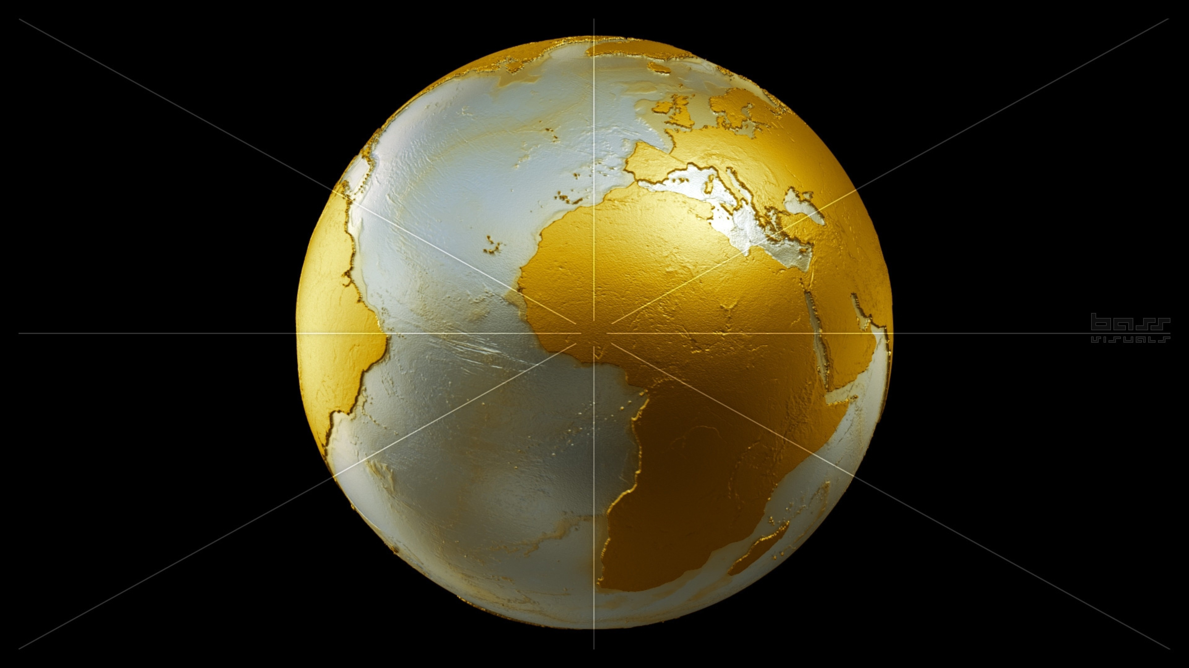Preview wallpaper earth, globe, planet, gold 3840×2160