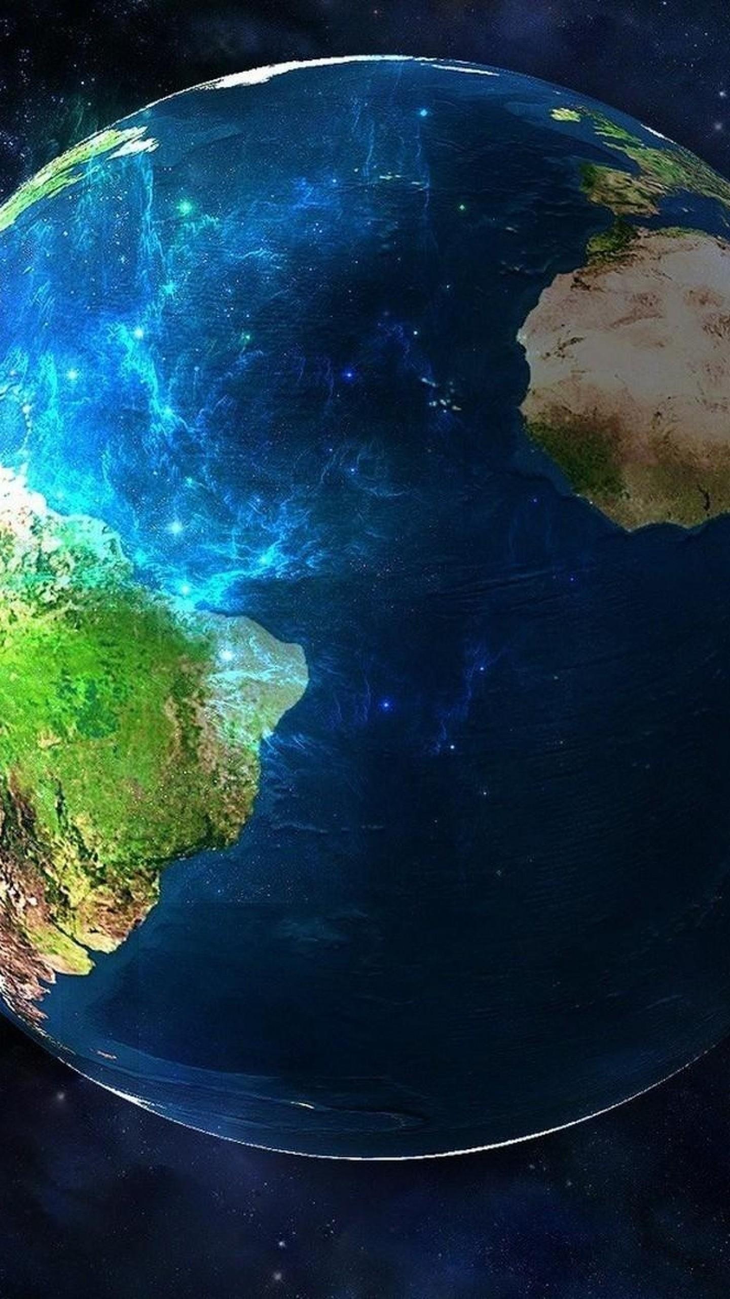 Wallpaper earth, planet, space, nebula
