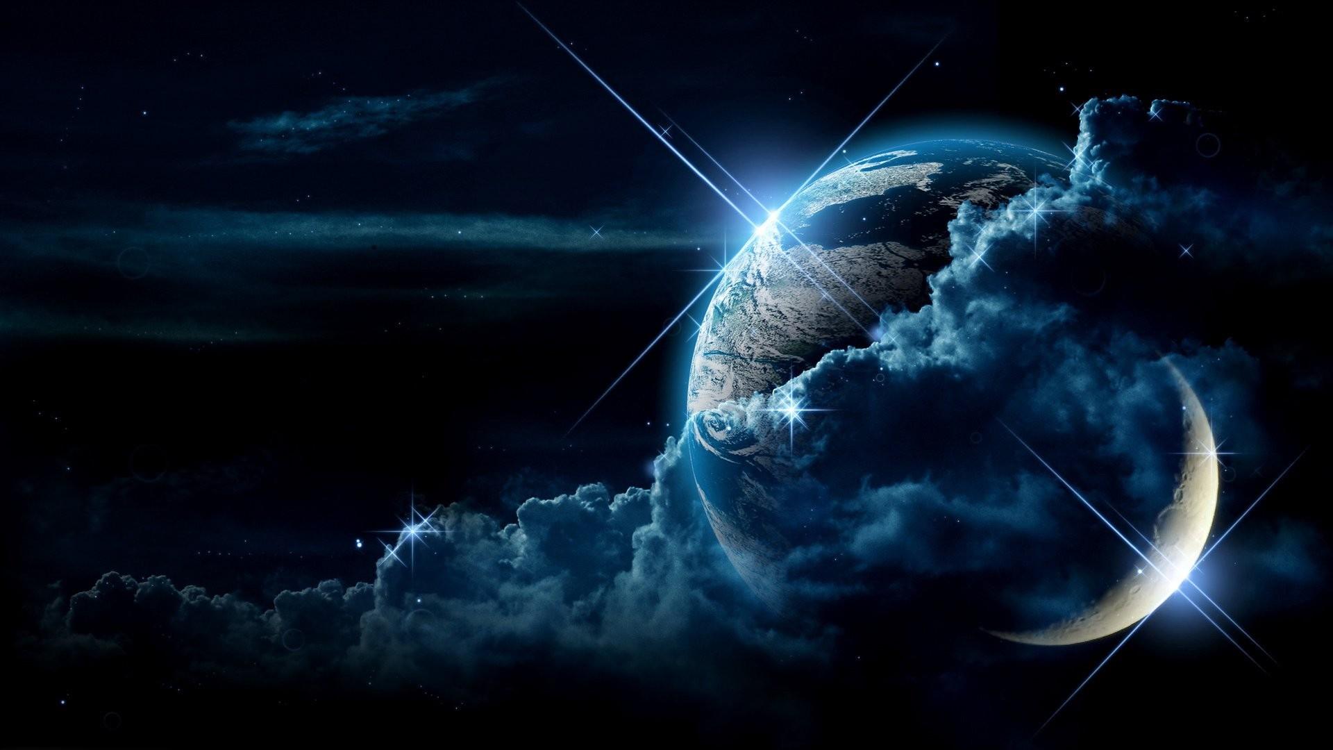 Preview wallpaper planet, clouds, light, star 1920×1080