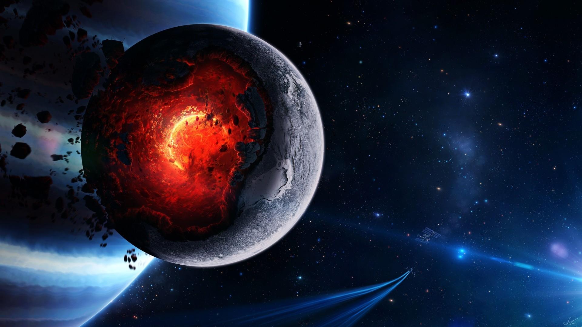 Preview wallpaper space, cataclysm, planet, art, explosion, asteroids,  comets,