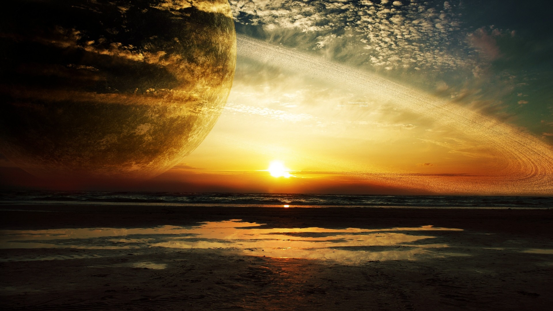 Preview wallpaper sunset, sea, rings, planet 1920×1080