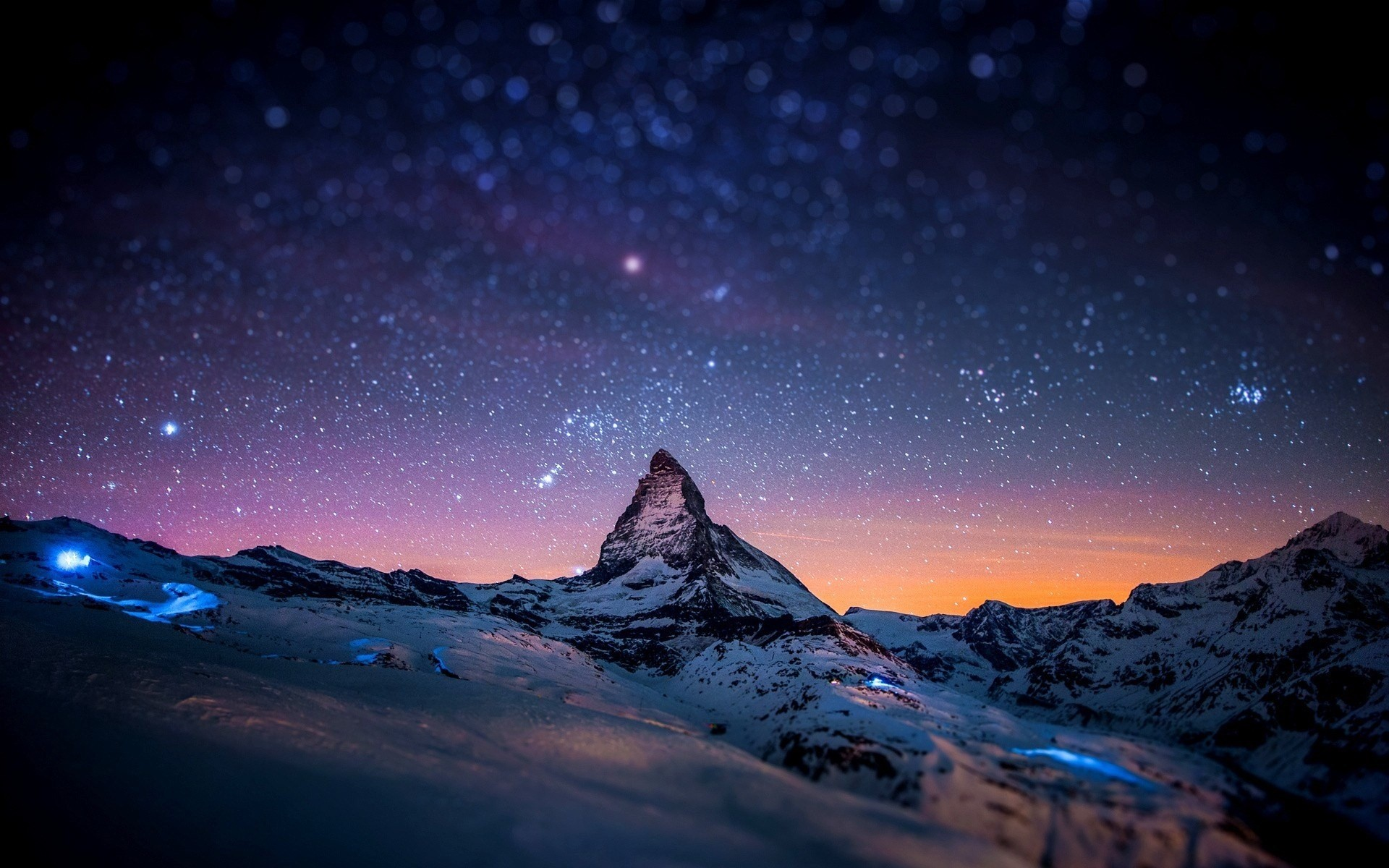 Starry Night Sky Over The Mountains Nature Desktop hd wallpaper by kyouko