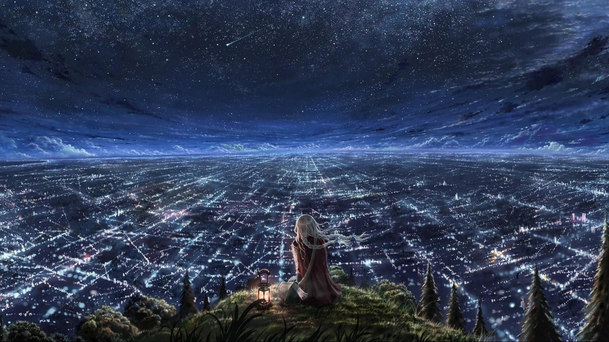 Starry night Women Animation HD Wallpapers, Desktop Backgrounds .