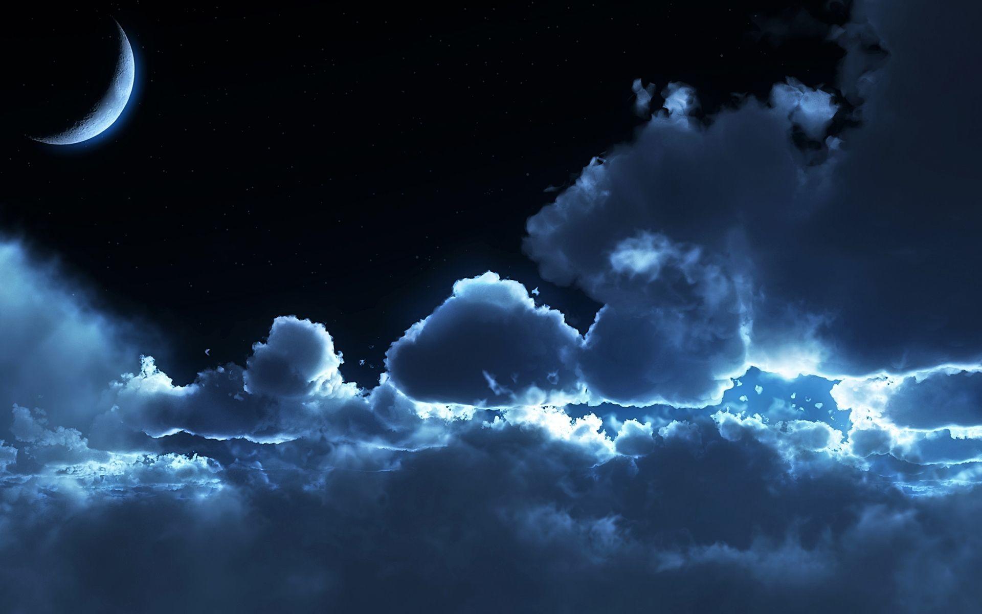 Clouds moon Night sky Starry HD Wallpaper