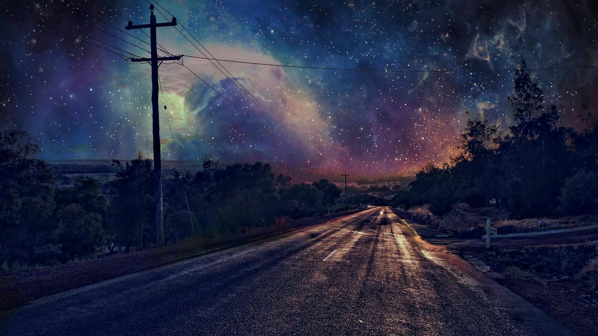 Man Made – Road Starry Sky Sky Night Wallpaper