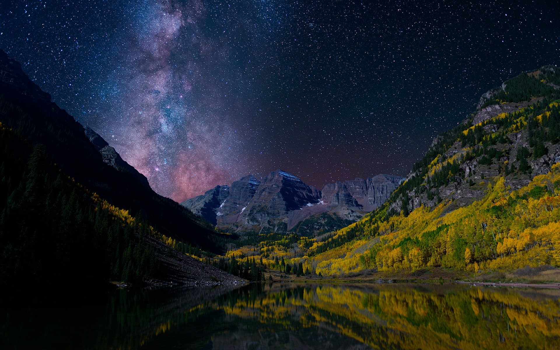 Earth – Landscape Sky Milky Way Norway Earth Mountain Valley Forest Night  Reflection Stars Starry Sky