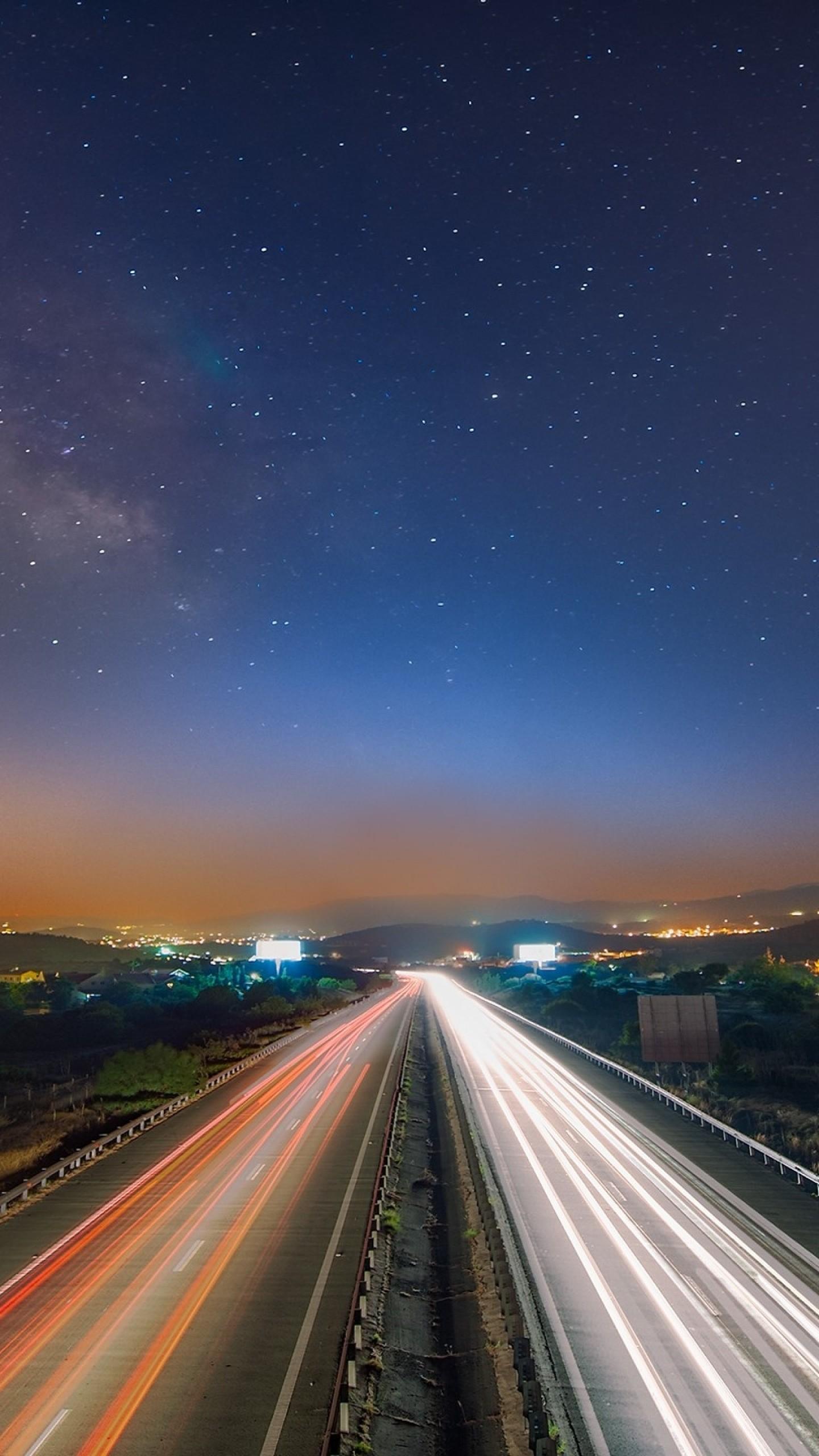 Wallpaper starry sky, night, road, traffic
