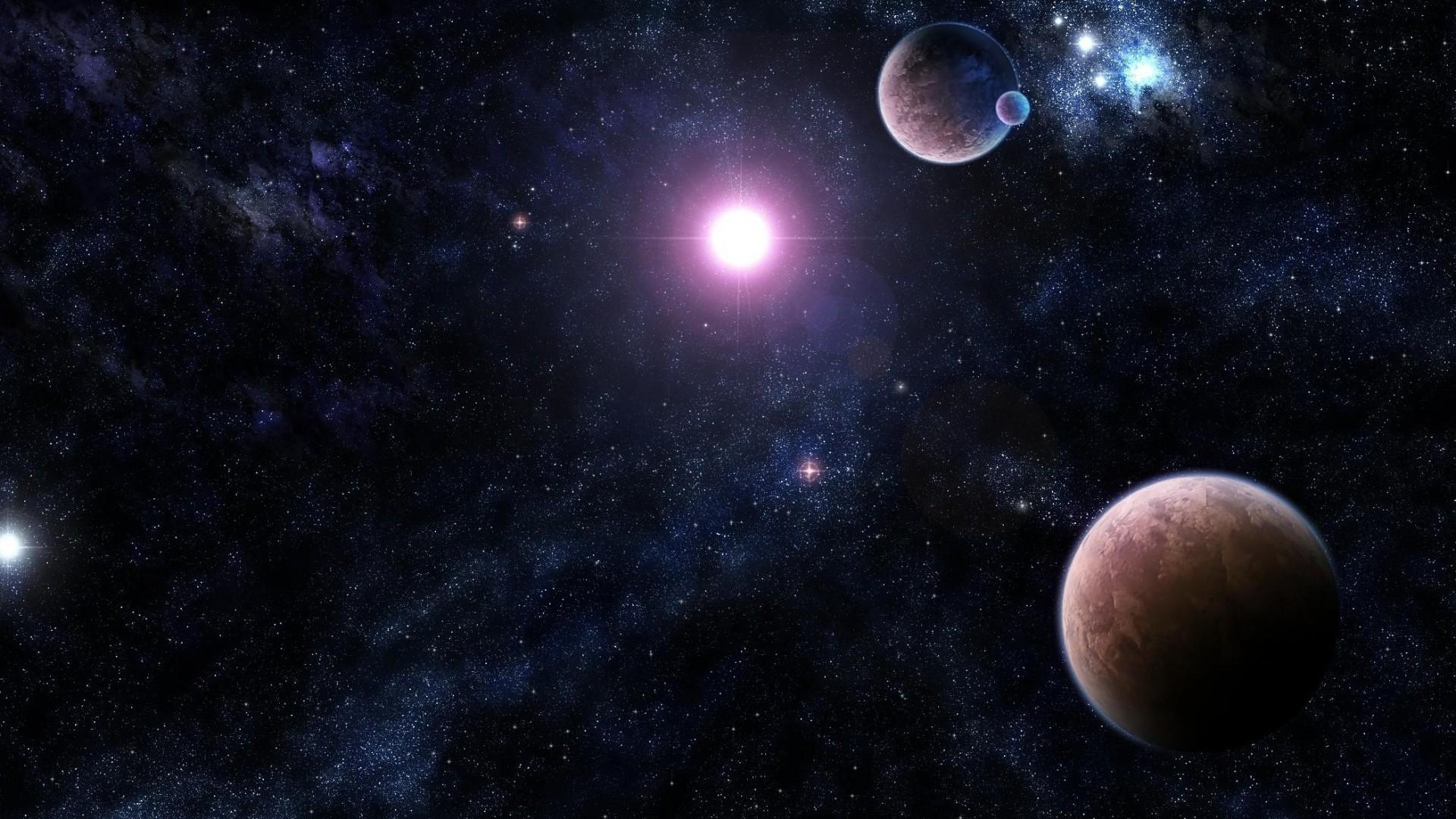 Preview wallpaper galaxy, stars, universe, light, planet 1920×1080