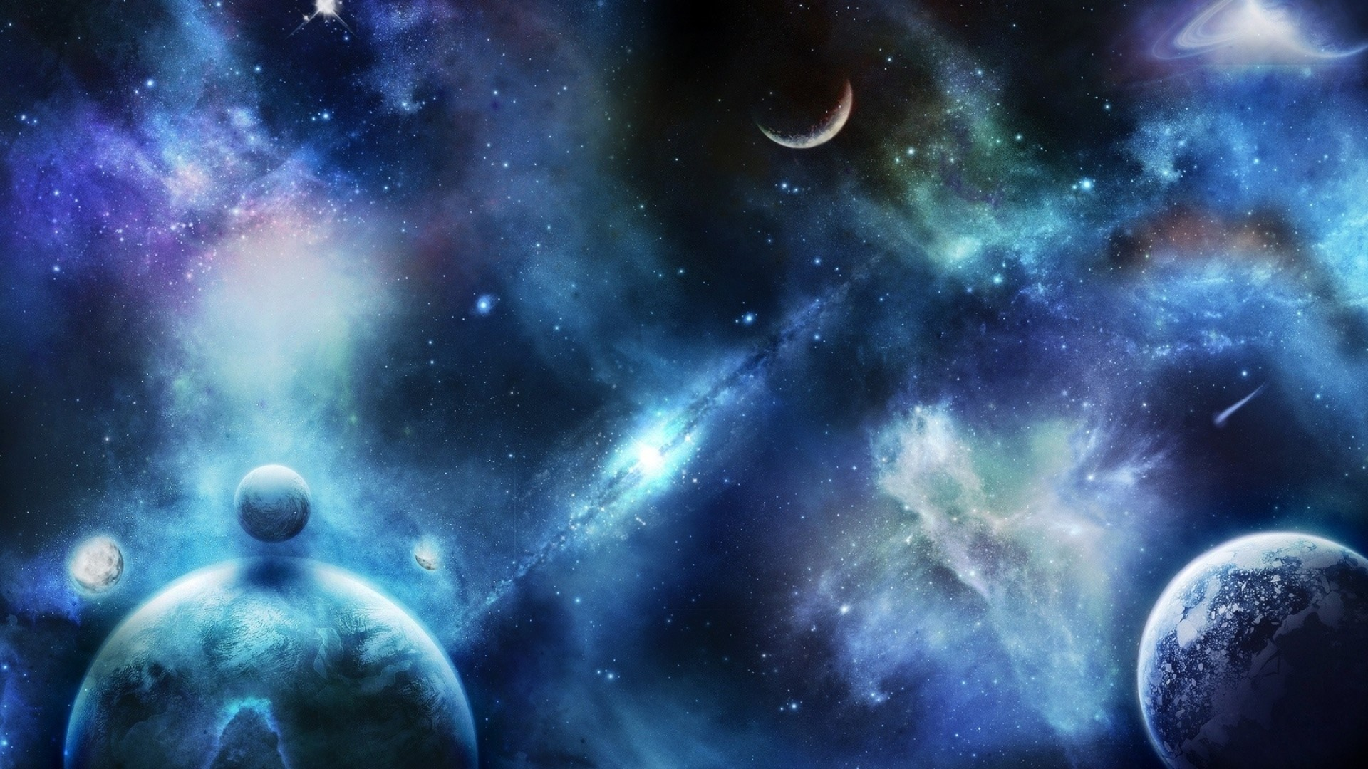 Wallpaper planets, stars, space, universe, spots, blurring