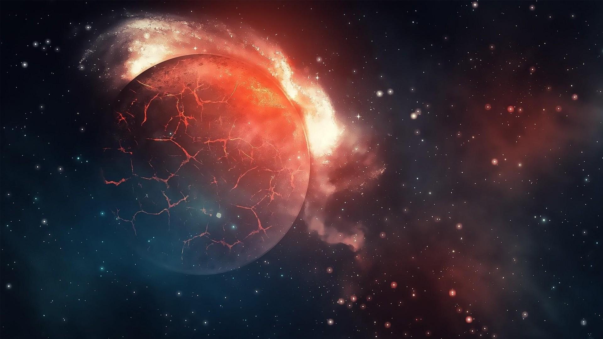Download Wallpaper planet, explosion, cracks, stars, universe  Full HD 1080p HD Background