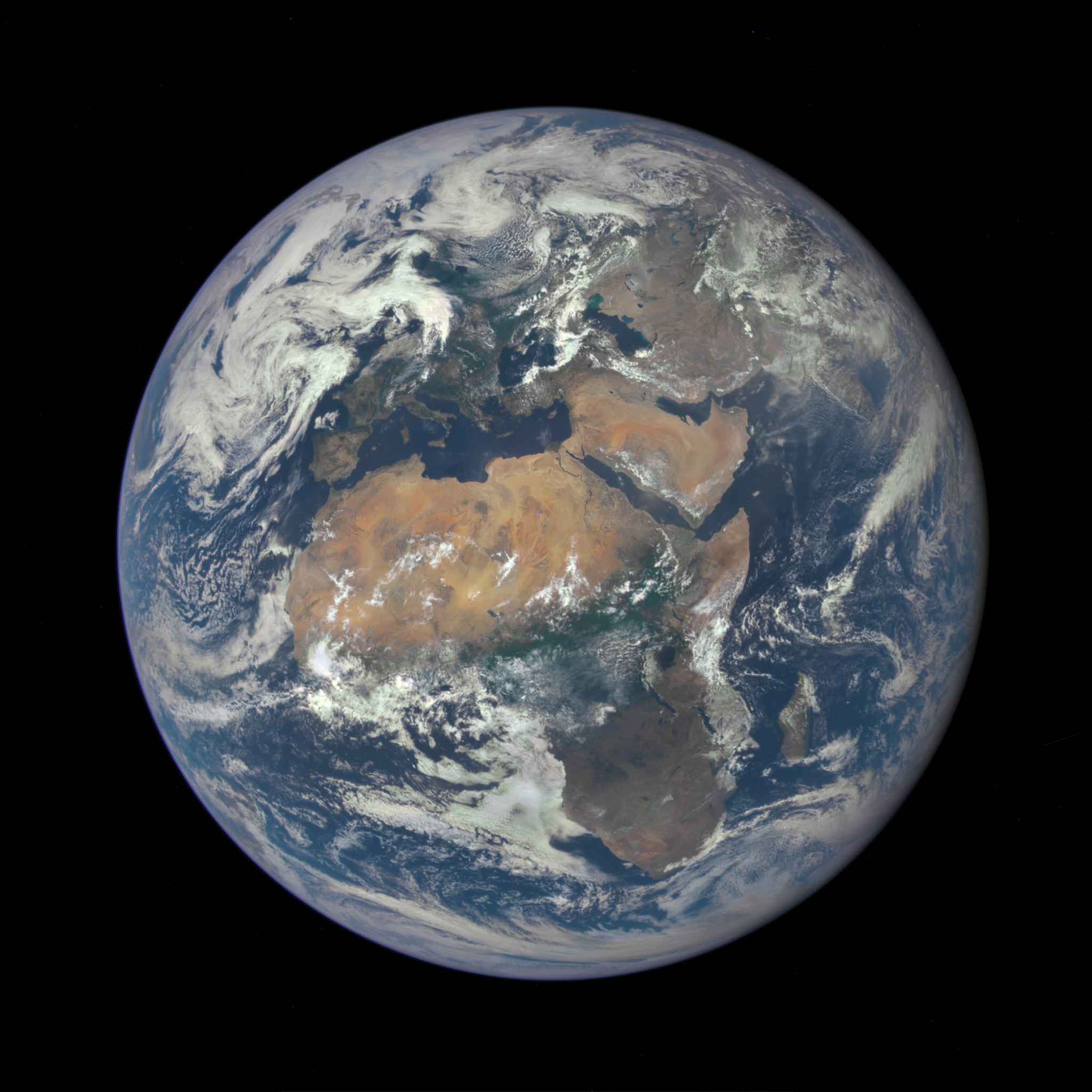 Africa is front and center in this image of Earth taken by a NASA camera on