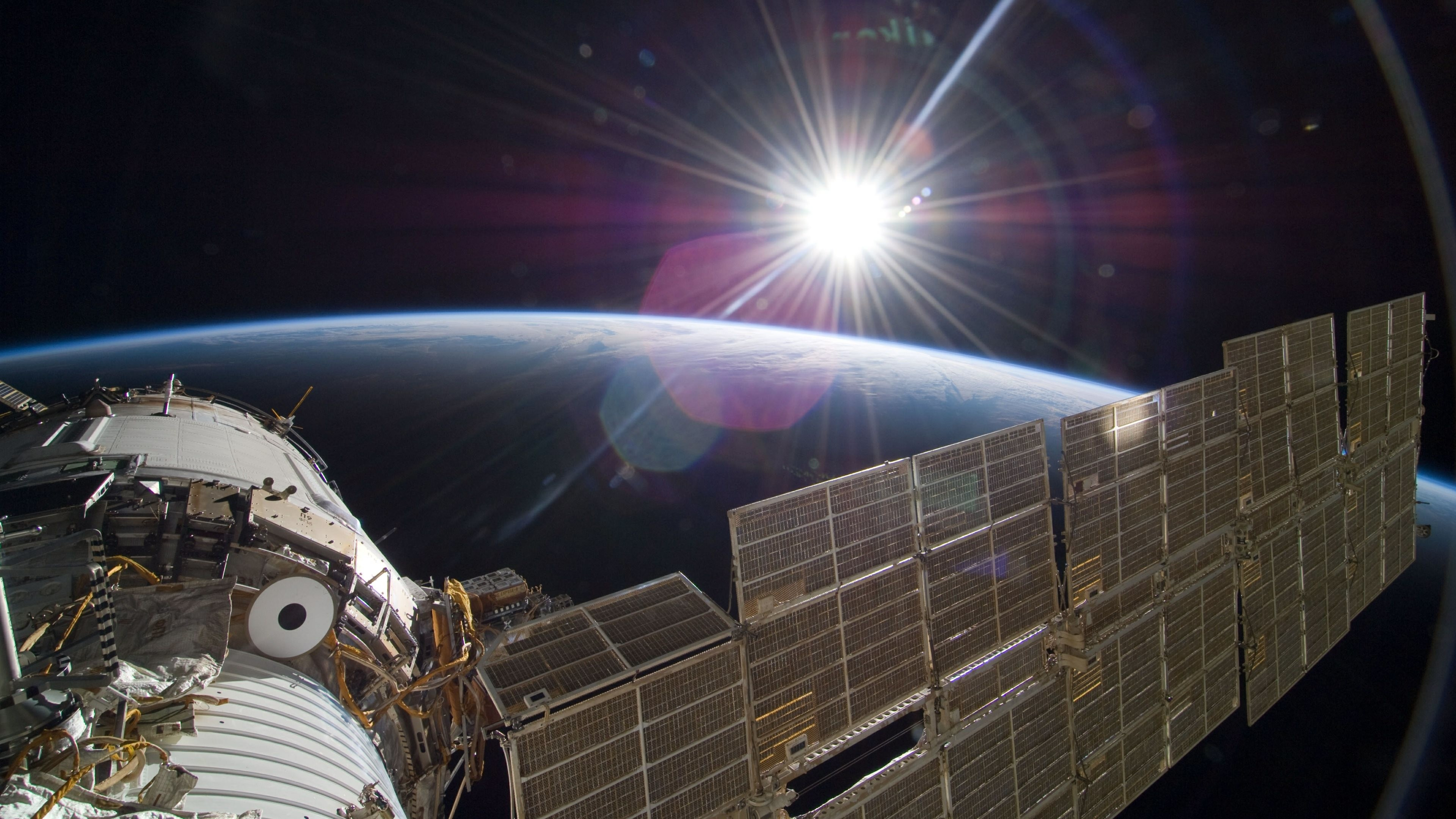 4K HD Wallpaper: Sun Over Earth (NASA, International Space Station Science)