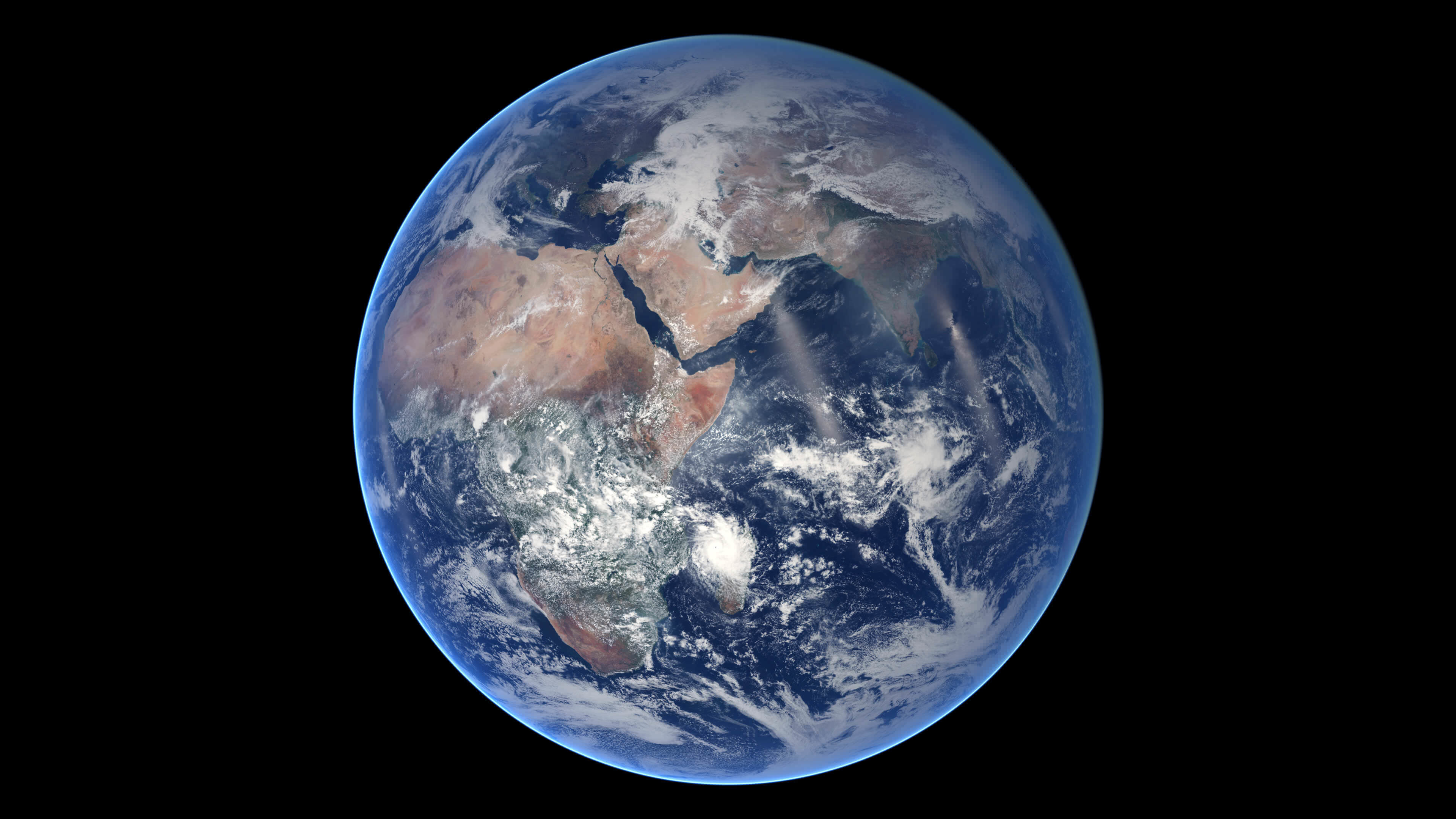 the blue marble spins-nasa portrait of earth 4k wallpaper