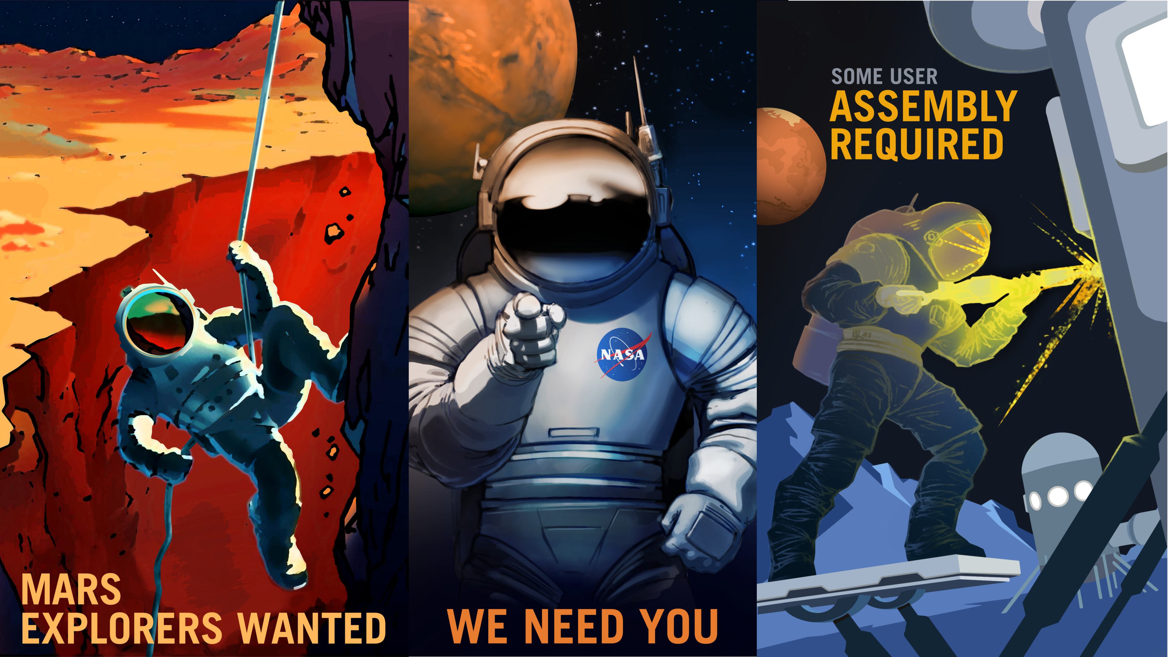 [x-post from /r/wallpapers] I combined a few of the NASA Mars posters into  a 4k wallpaper.